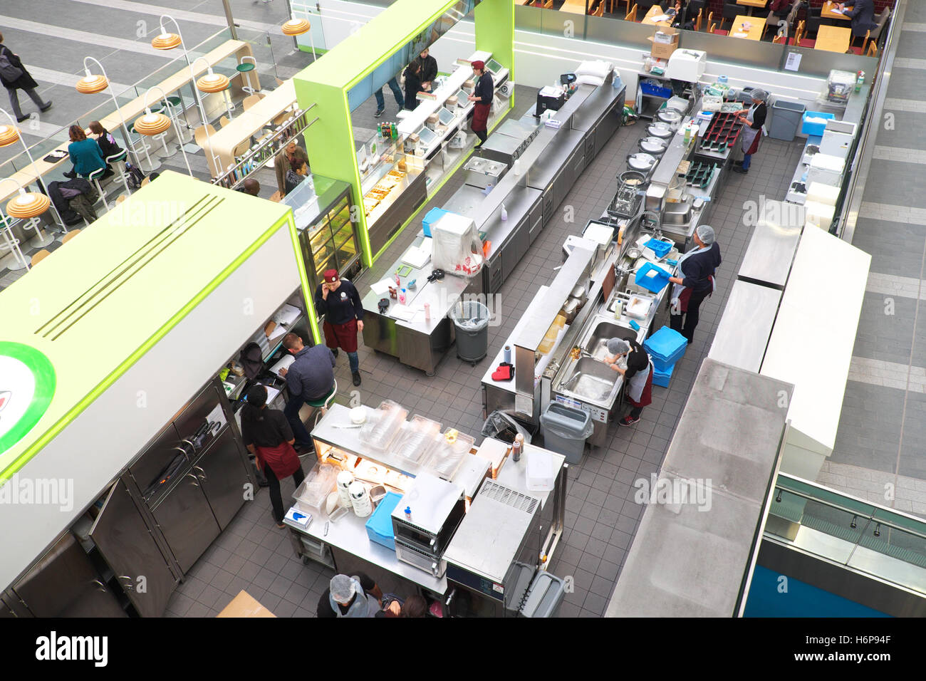Fast food store view from above showing kitchen and food preparation area - Stock Image