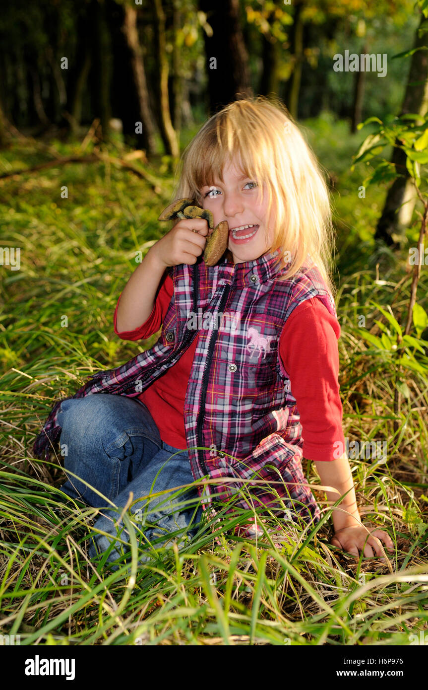 little girl collects mushrooms - Stock Image