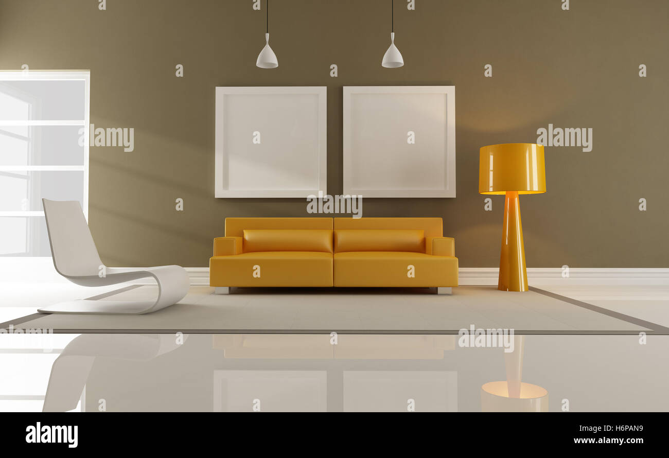 furniture interior couch contemporary livingroom living room home armchair furniture modern modernity room brown - Stock Image