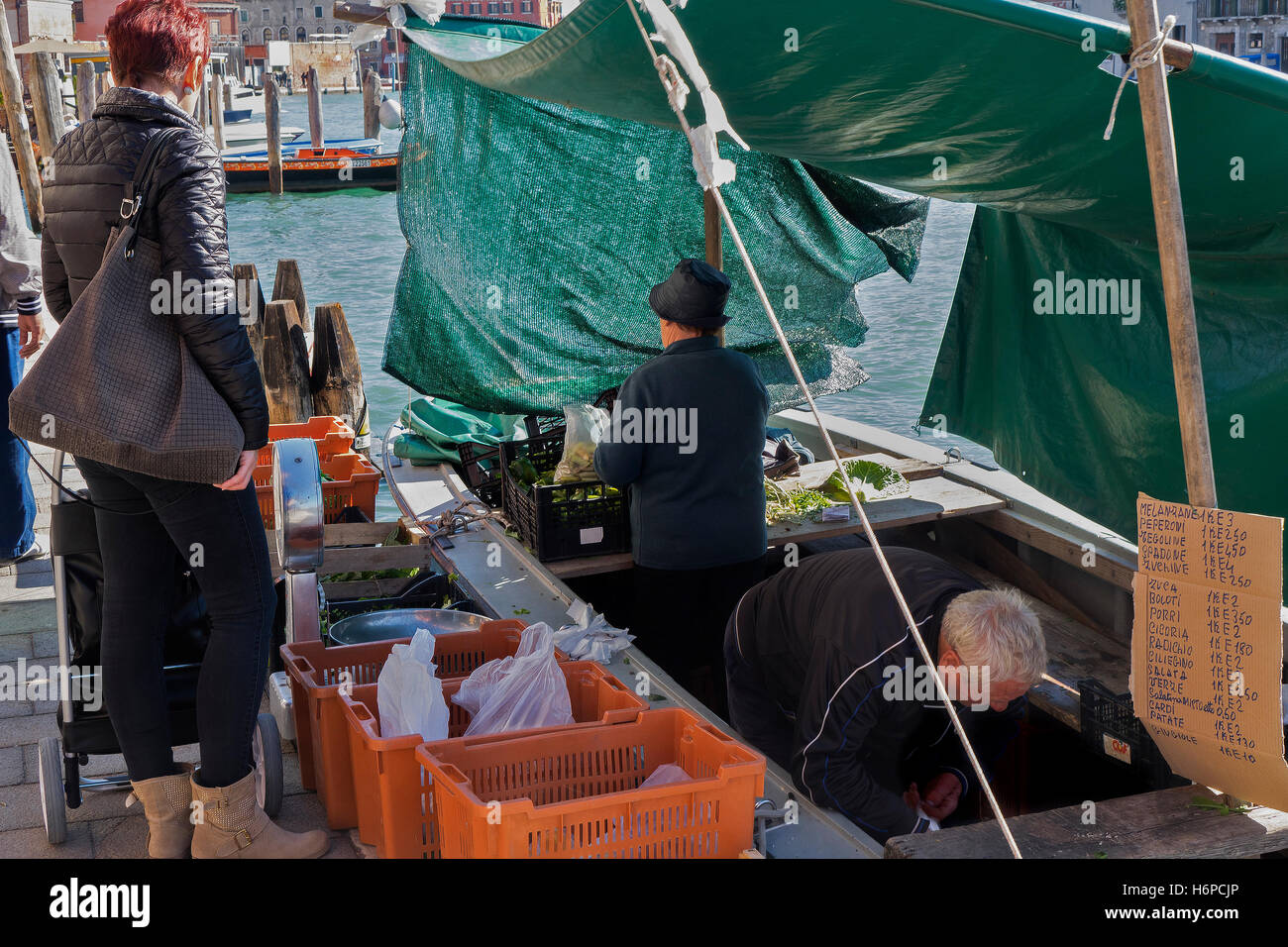 Greengrocers Shop On A Boat, Murano Island, Venice, Italy - Stock Image