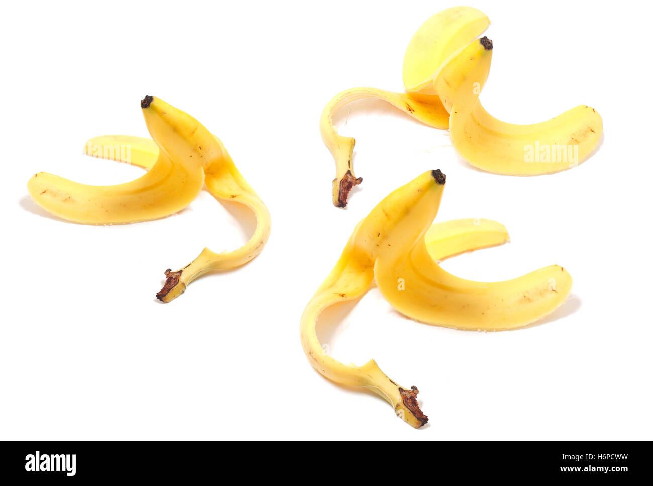 danger caution slippery banana peel danger caution slippery warning banana peel conceptual pictogram symbol pictograph - Stock Image