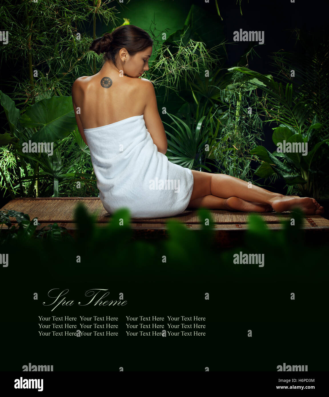 View of nice young woman meditating in spa tropic environment. Banner. - Stock Image