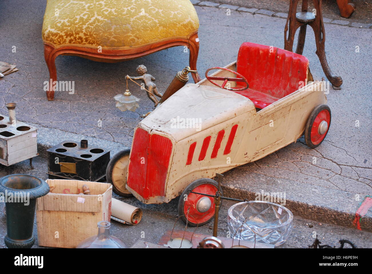 car automobile vehicle means of travel motor vehicle toy childhood flea market old car automobile vehicle means - Stock Image