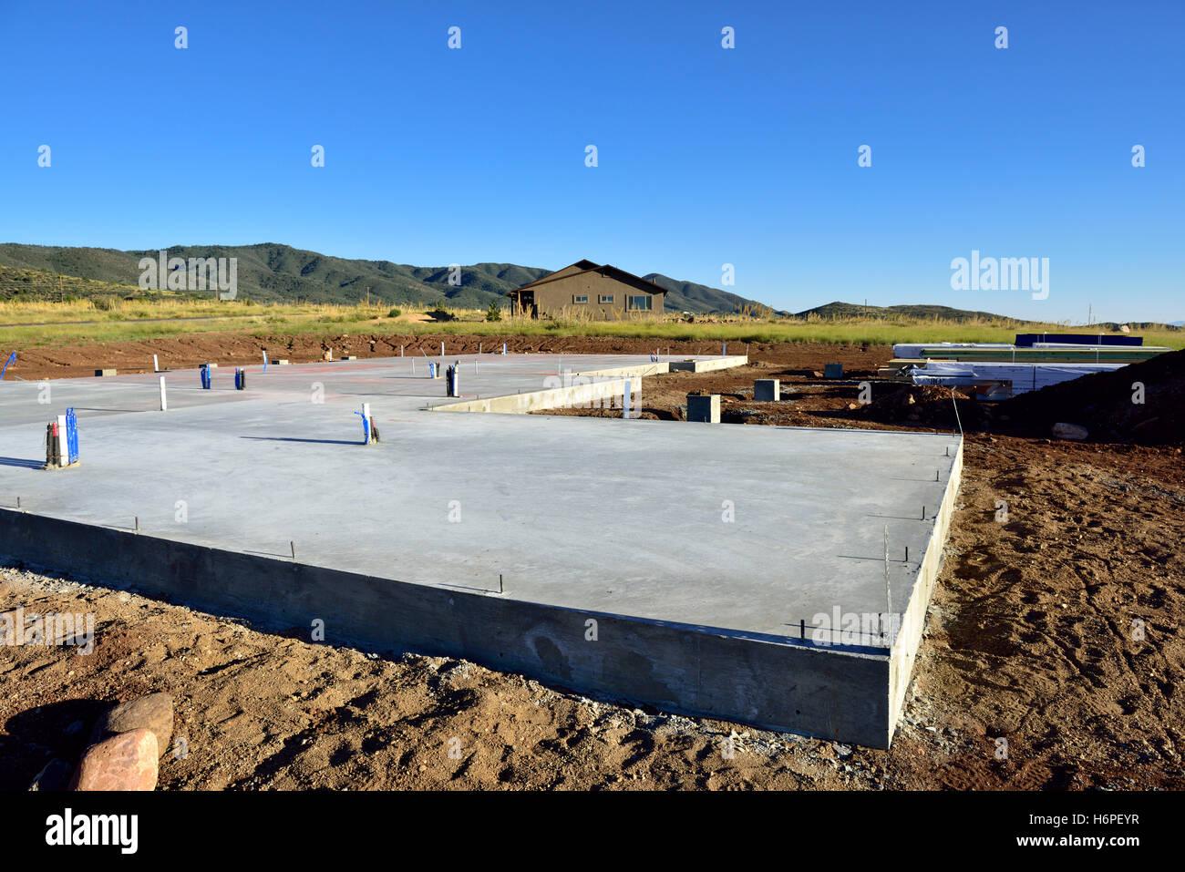 Concrete Slab Foundation For New House In Prescott Valley, Arizona, USA
