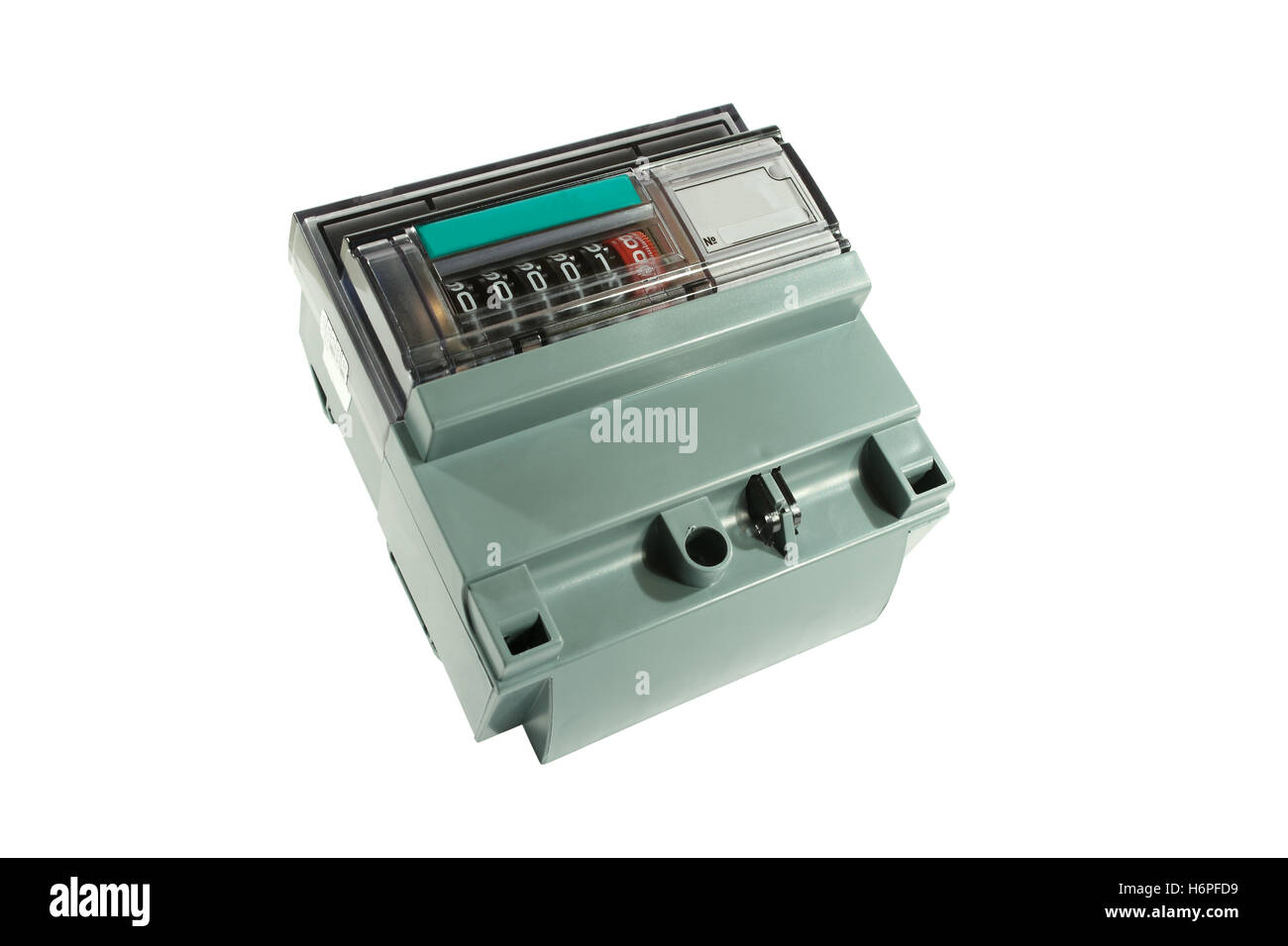 horizontal technology reading number kilowatt measuring component isolated consumption measured sured measure hours - Stock Image