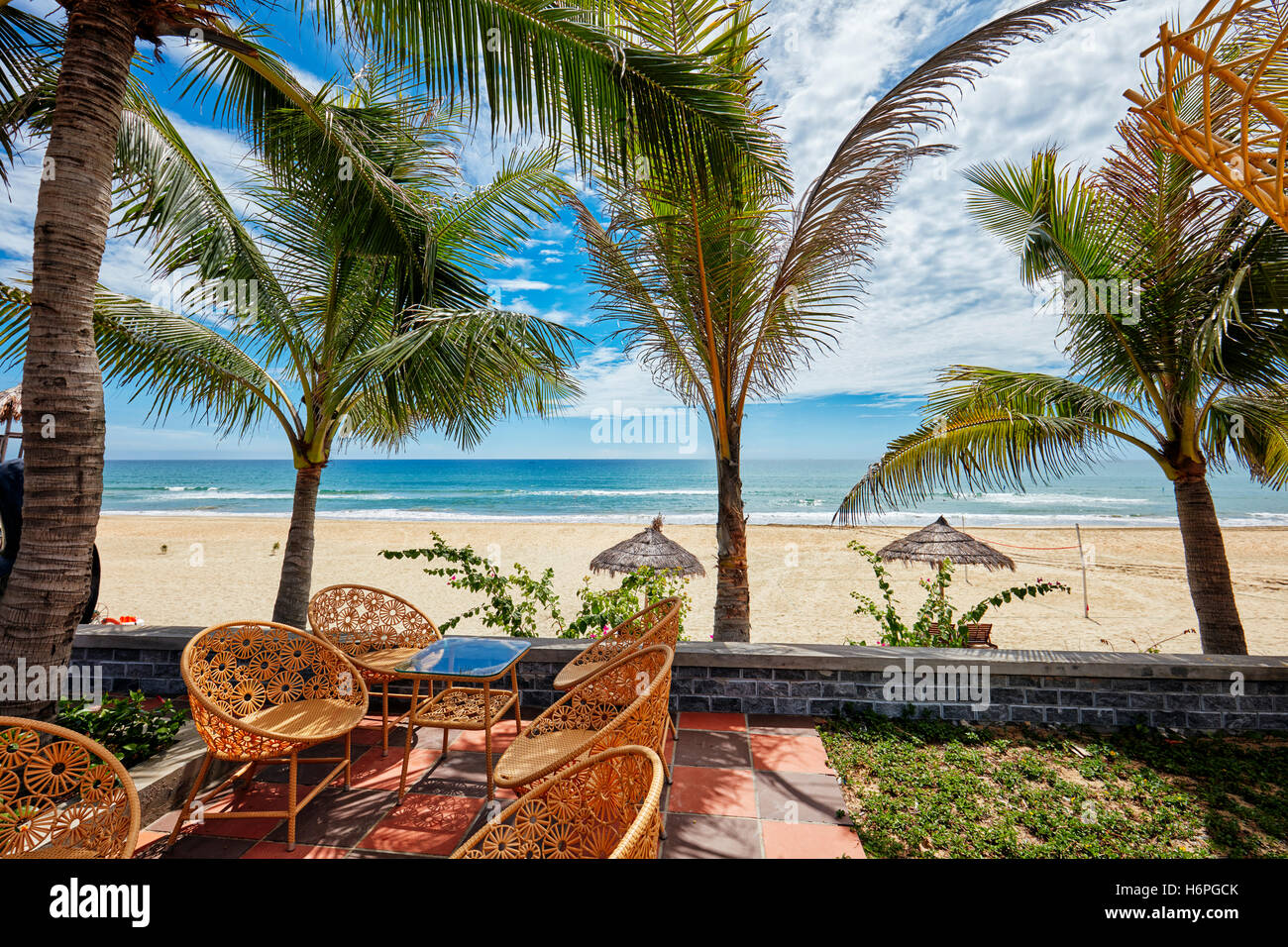 View of Lang Co beach from Thanh Tam Resort. Lang Co, Thua Thien Hue Province, Vietnam. - Stock Image
