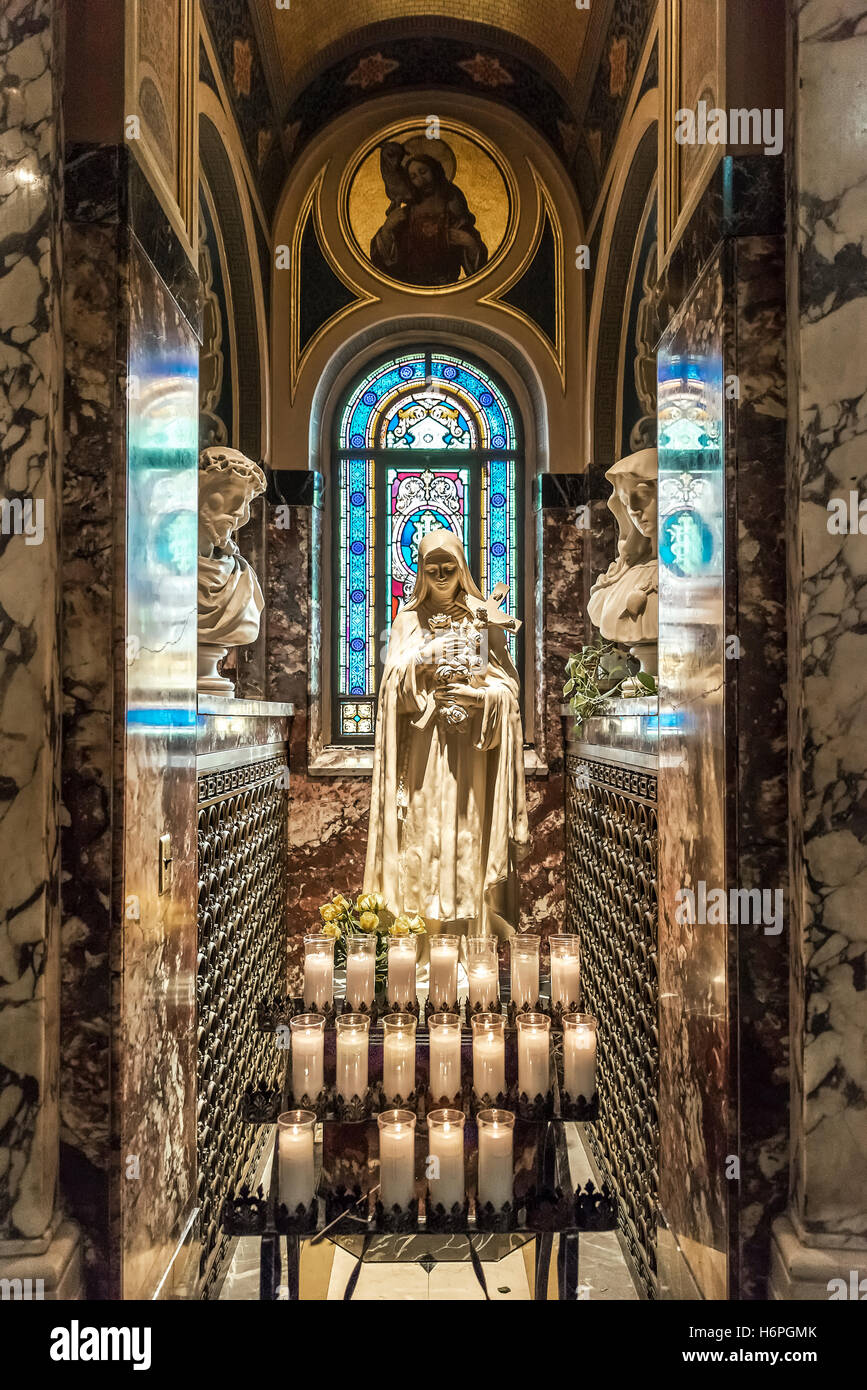 Blessed Mother votive shrine, Our Lady of Victory Basilica, Lackawanna, New York, USA. - Stock Image