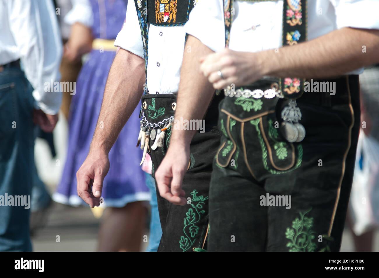 bavarian lederhosen at oktoberfest - Stock Image