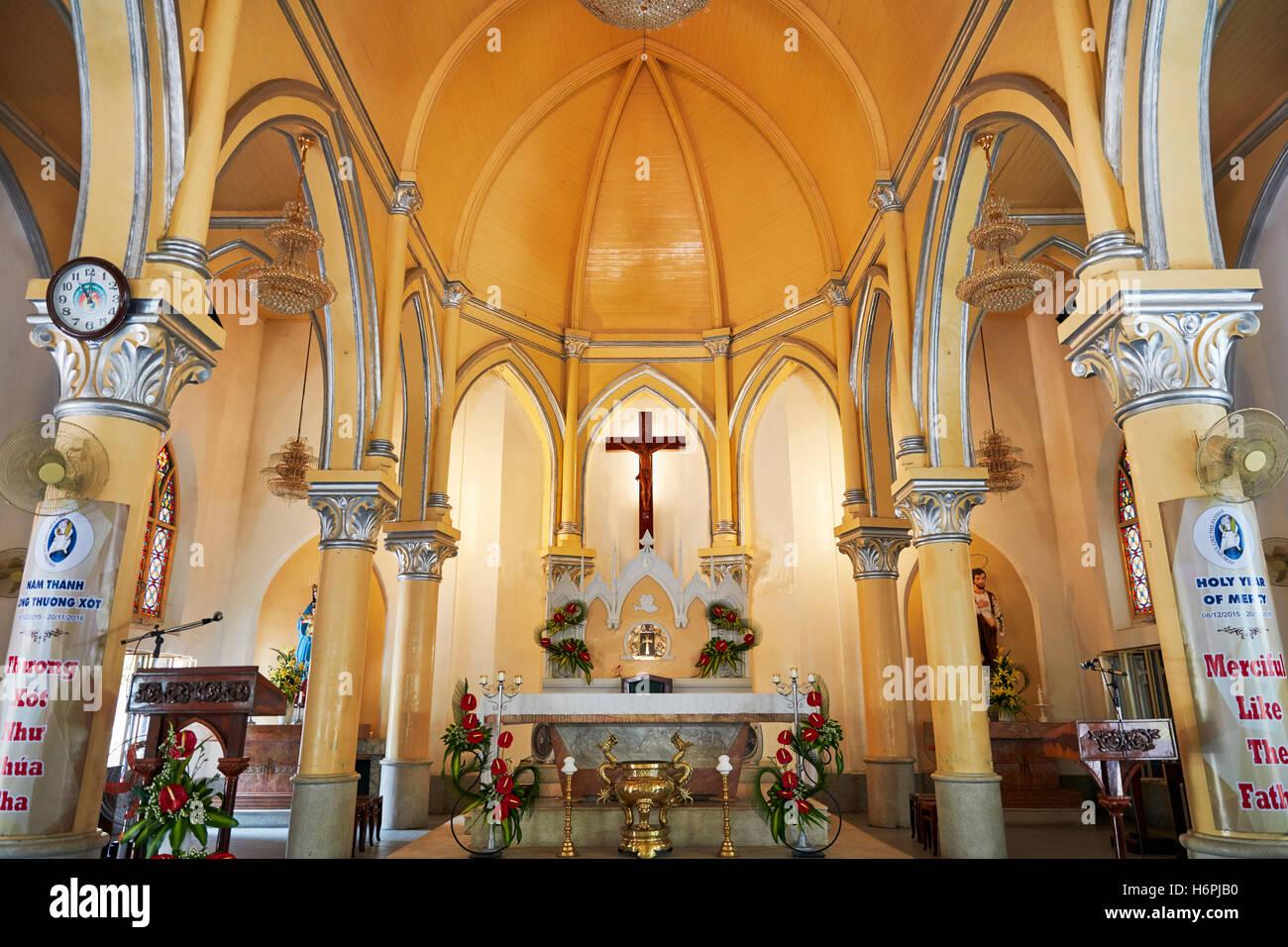 Interior view of the Da Nang Cathedral (Basilica of the Sacred Heart of Jesus). Da Nang city, Vietnam. - Stock Image