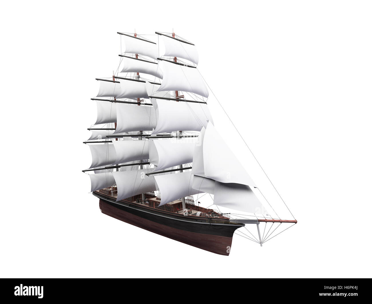 isolated traffic transportation toy transport illustration vessel sailing boat sailboat galley regatta boat nautical - Stock Image