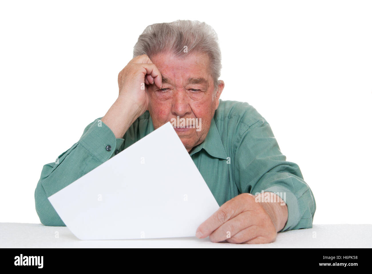 fear concern worried worry anxiety anxious solicitous saving responsible unemployed pension annuity man senior senior - Stock Image