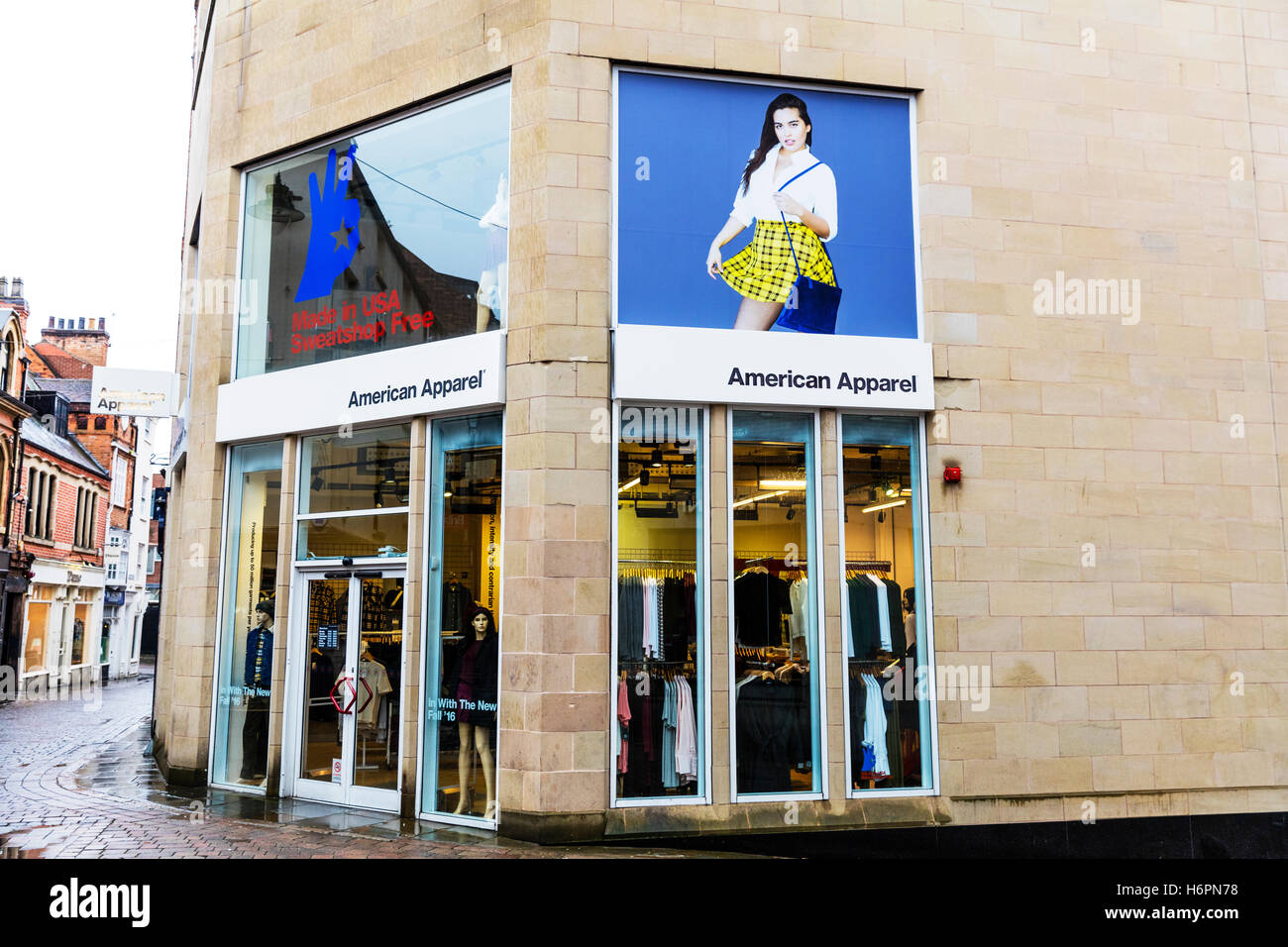 eb894c558407 American Apparel clothes shop clothing store high street shops Nottingham  UK GB England sign exterior front