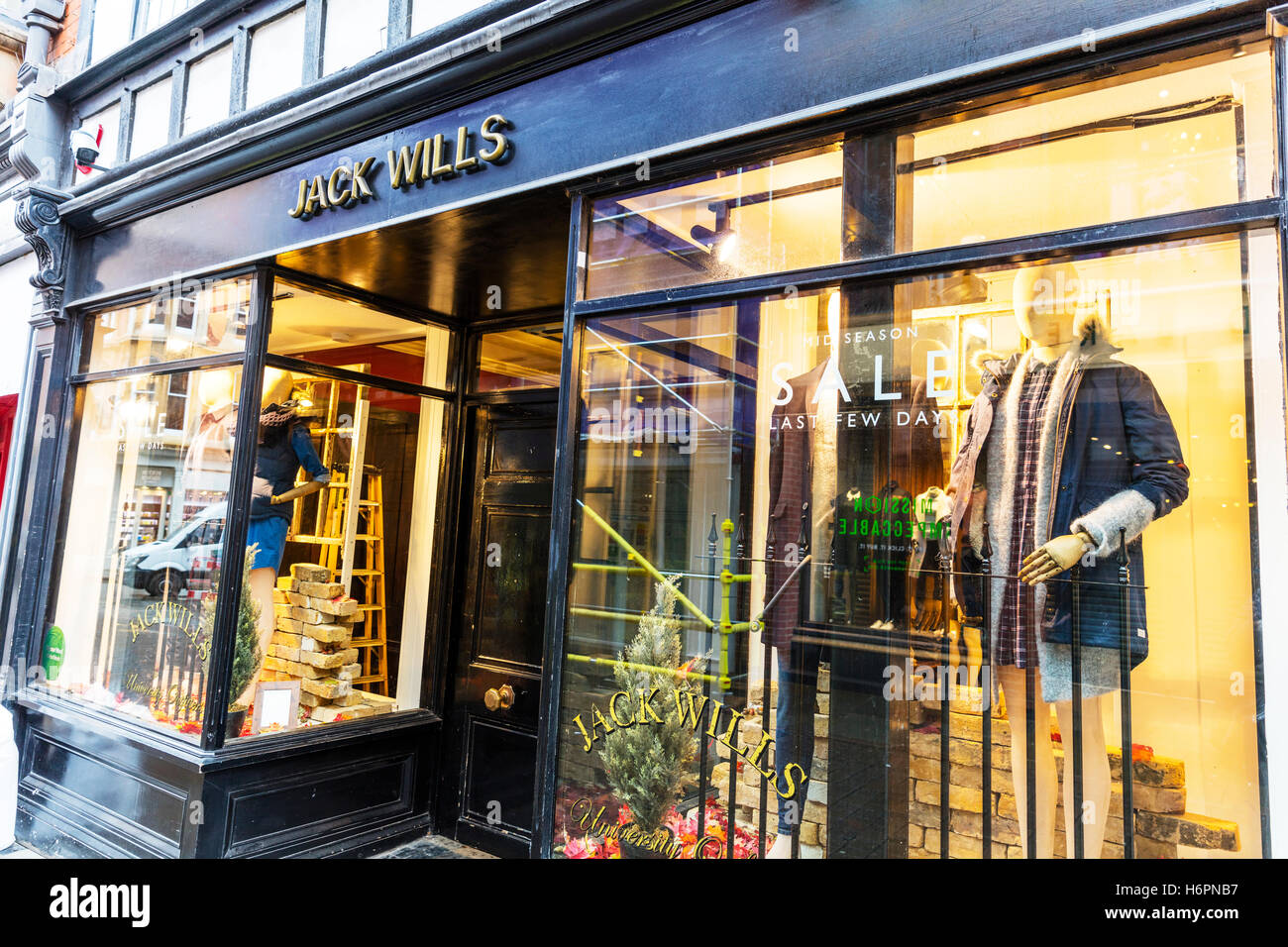 Jack Wills clothes shop clothing store high street shops Nottingham UK GB England sign exterior front facade signs - Stock Image