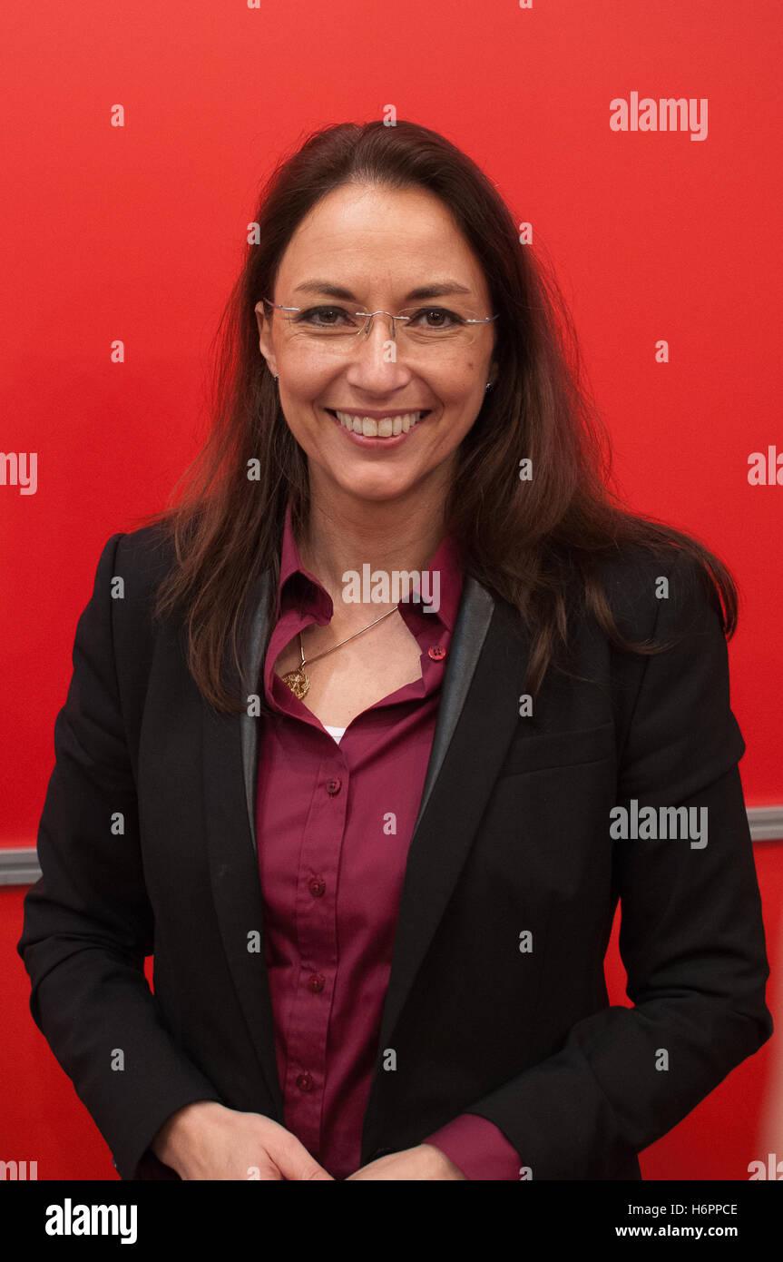 Yasmin Fahimi, german politician, SPD, Frankfurt Bookfair 2014 Stock Photo