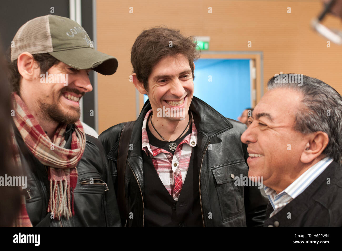 Brazilian Comic artists Gabriel Ba, Fabio Moon, Mauricio de Sousa (l to r) before their panel, Frankfurt Bookfair - Stock Image