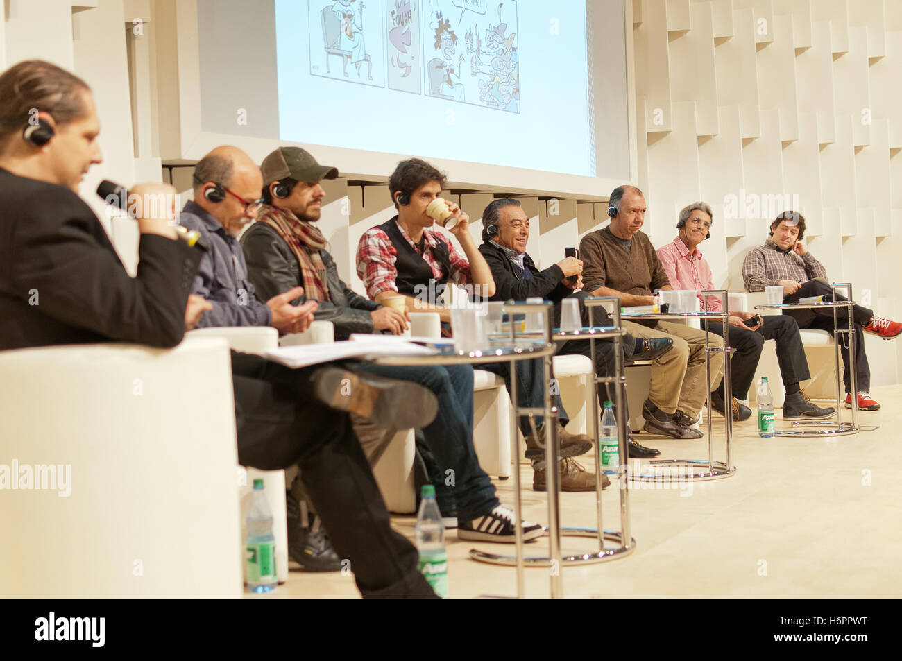 Panel with Brazilian comic artists Gabriel Ba, Fabio Moon, Mauricio de Sousa, Frankfurt Bookfair 2013 - Stock Image