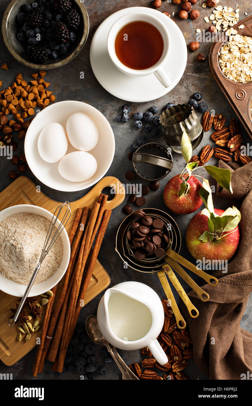 Fall baking concept with apples, oats and flour - Stock Image