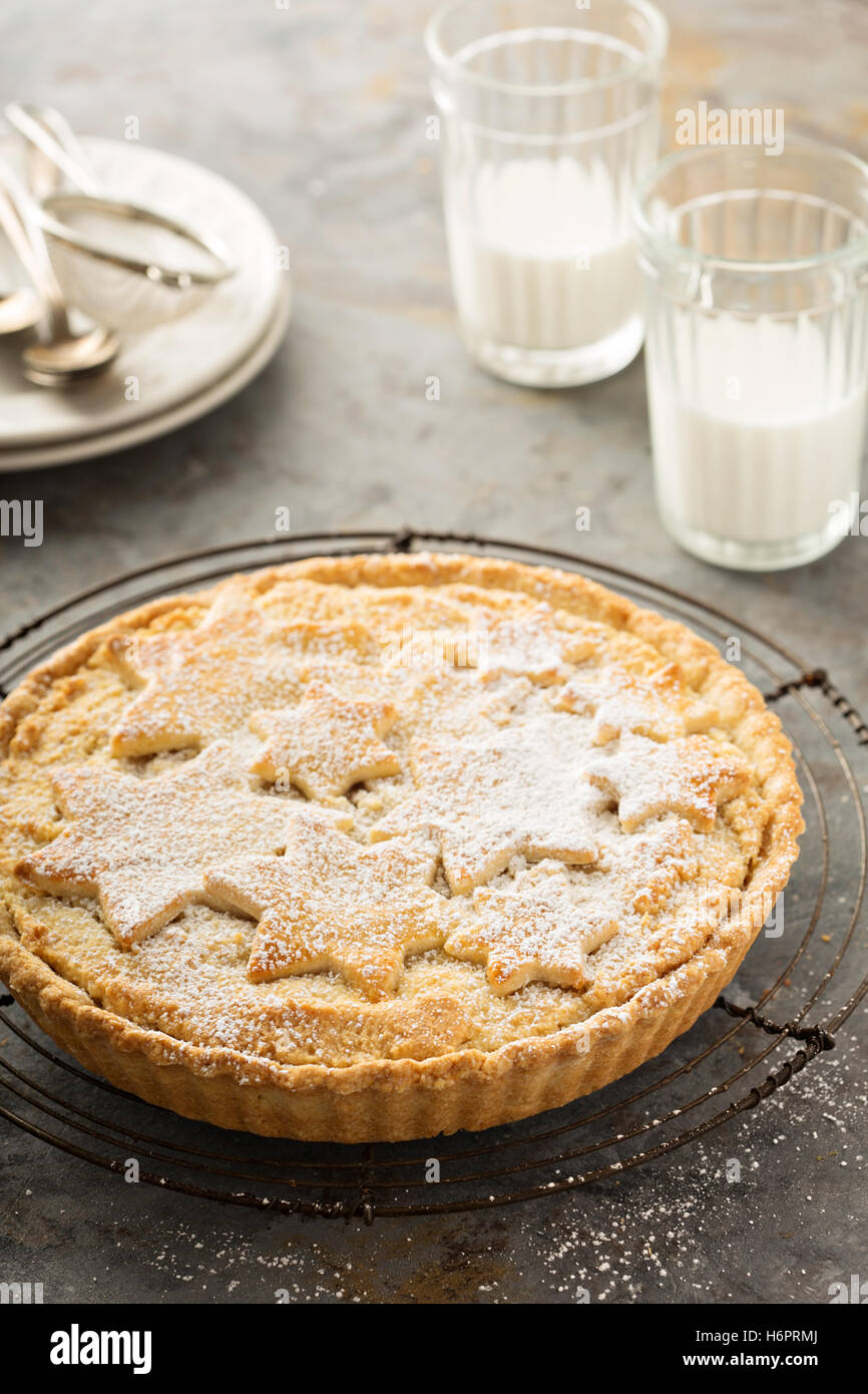 Traditional scandinavian almond tart - Stock Image