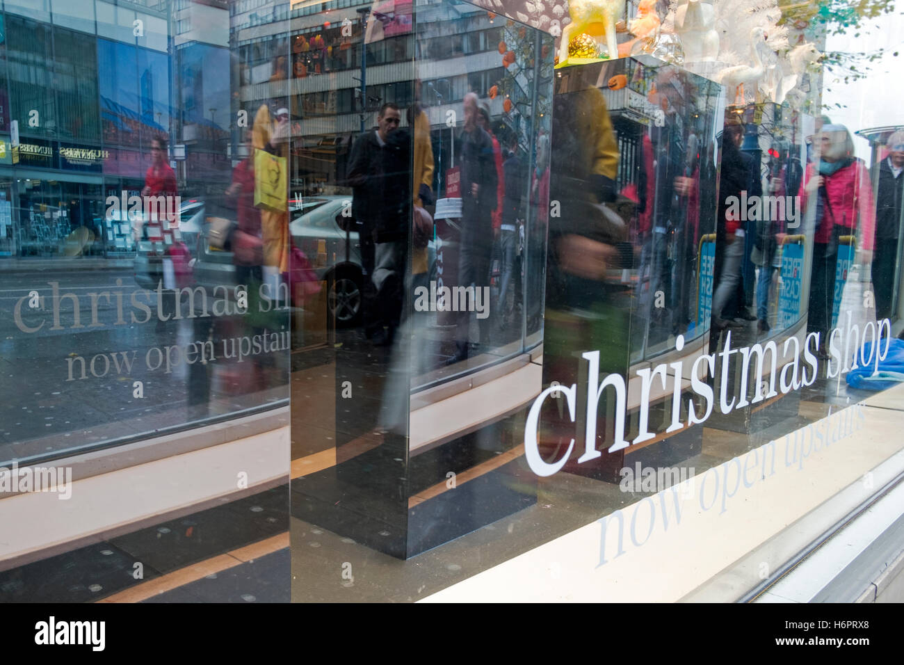 Christmas shop windows in Manchester city centre, UK. - Stock Image
