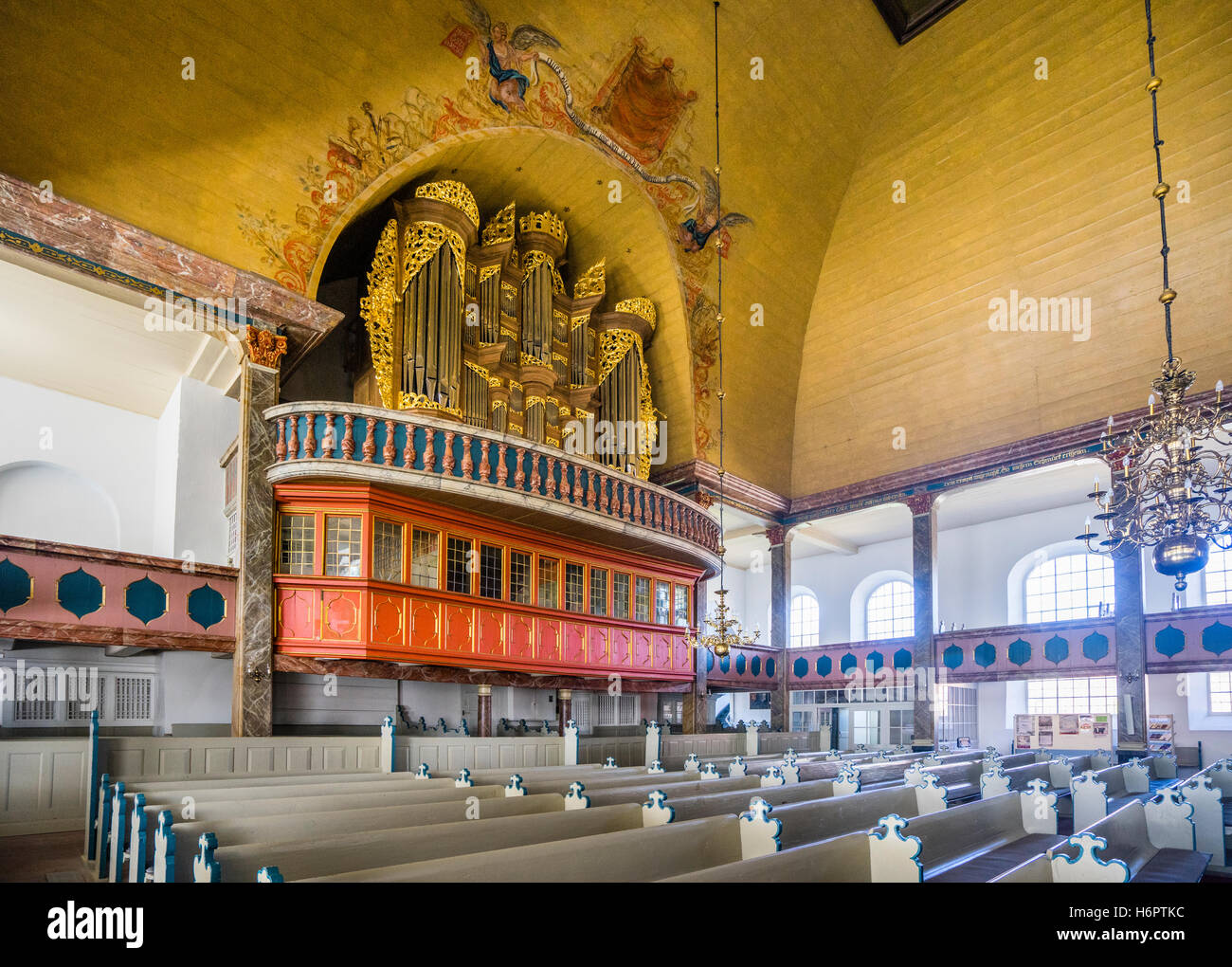 Germany, Schleswig-Holstein, Dithmarschen, Wesselburen, organ and loge in the church of St. Bartholomäus - Stock Image