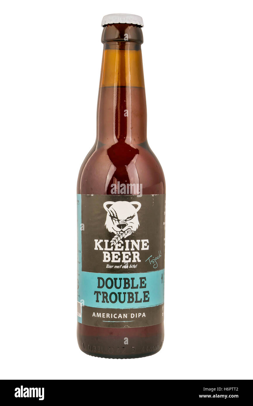 Kleine Beer beer bottle double trouble from Frisian Craft brewery in Lemmer. - Stock Image