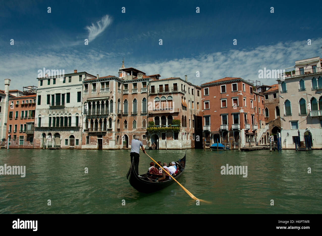 Gondola on the Grand Canal in Venice, Italy Stock Photo