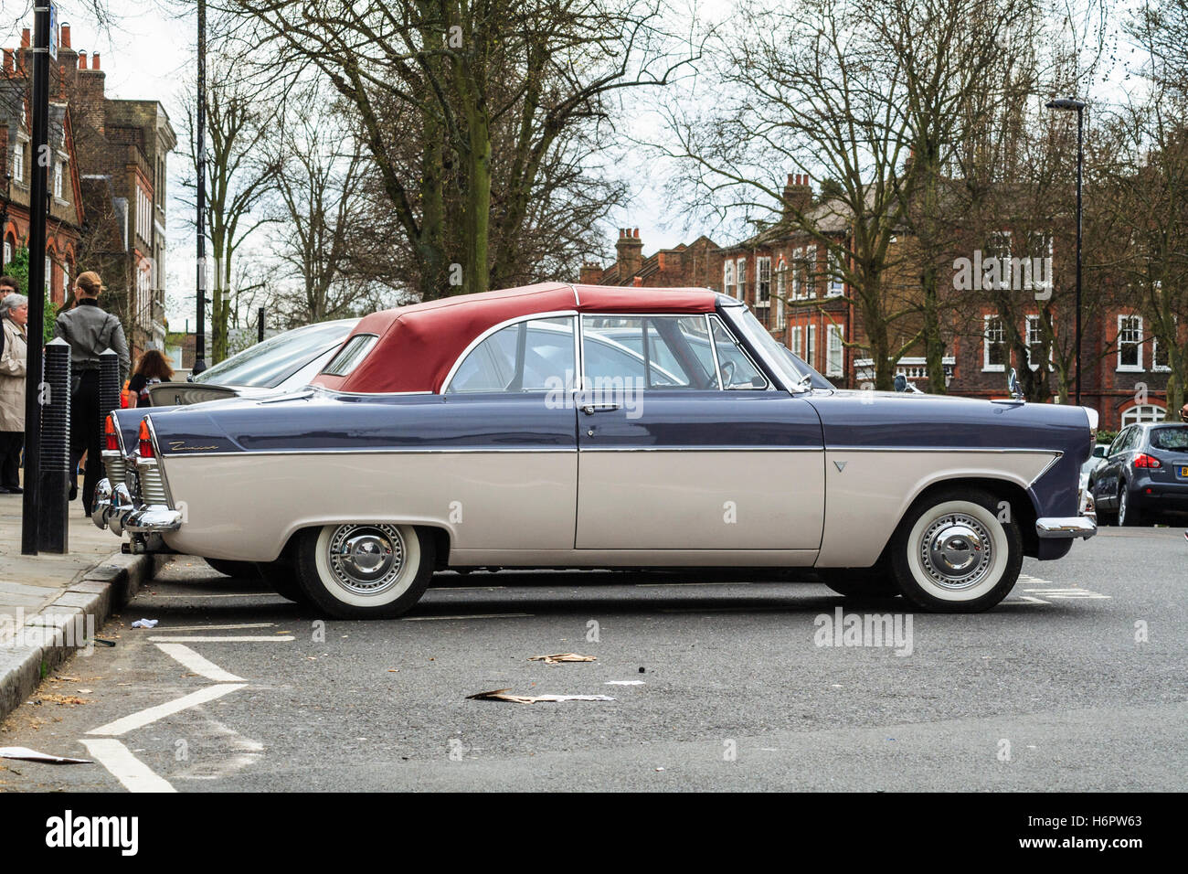 A Classic 1960s Two Tone Ford Zodiac Car With Whitewall Tyres And