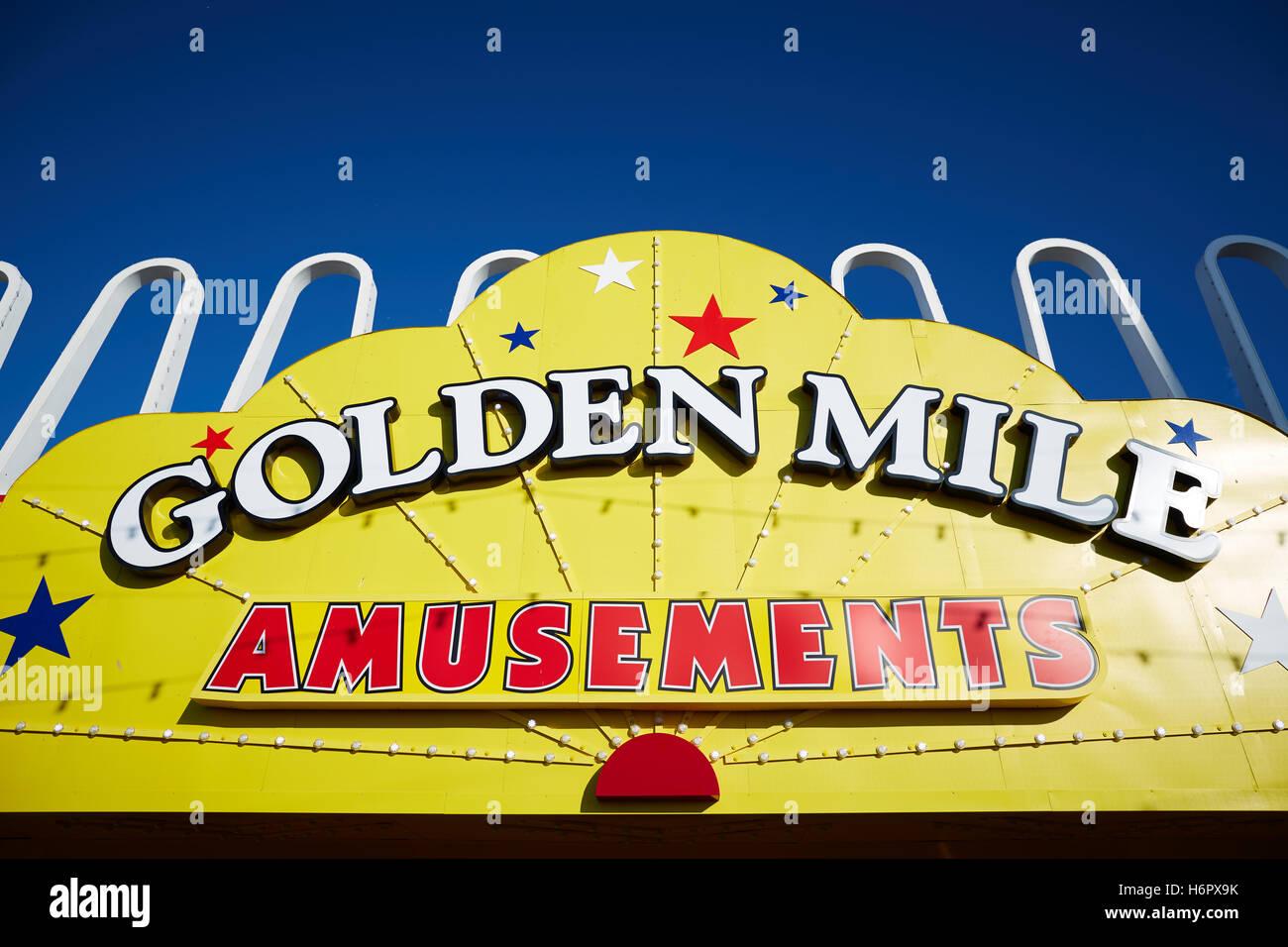 Blackpool Golden Mile Sign Amusement   Holiday sea side town resort Lancashire tourist attractions amusements arcade - Stock Image