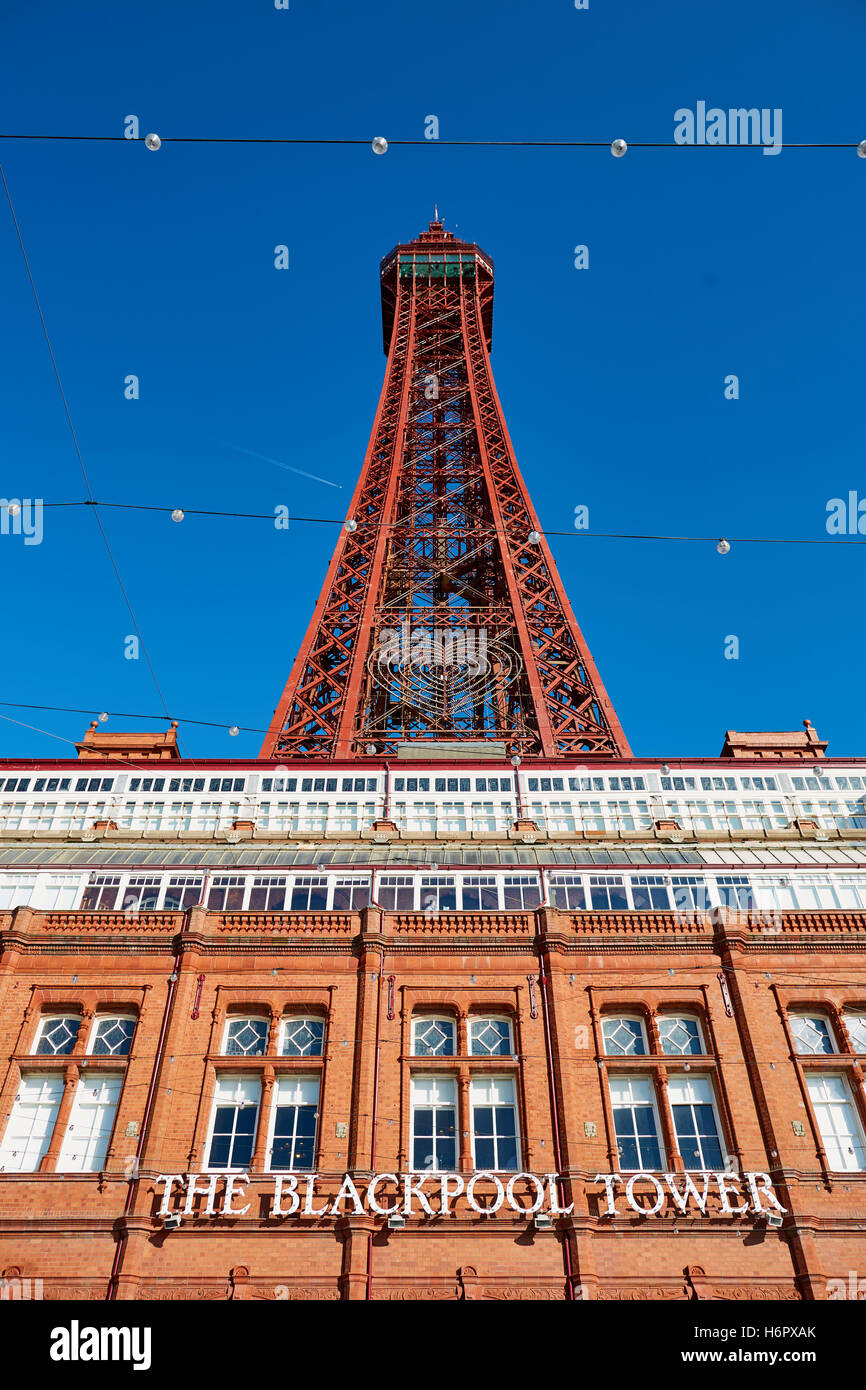 Blackpool tower structure landmark   Holiday sea side town resort Lancashire tourist attractions  tower copyspace blue sky detai Stock Photo