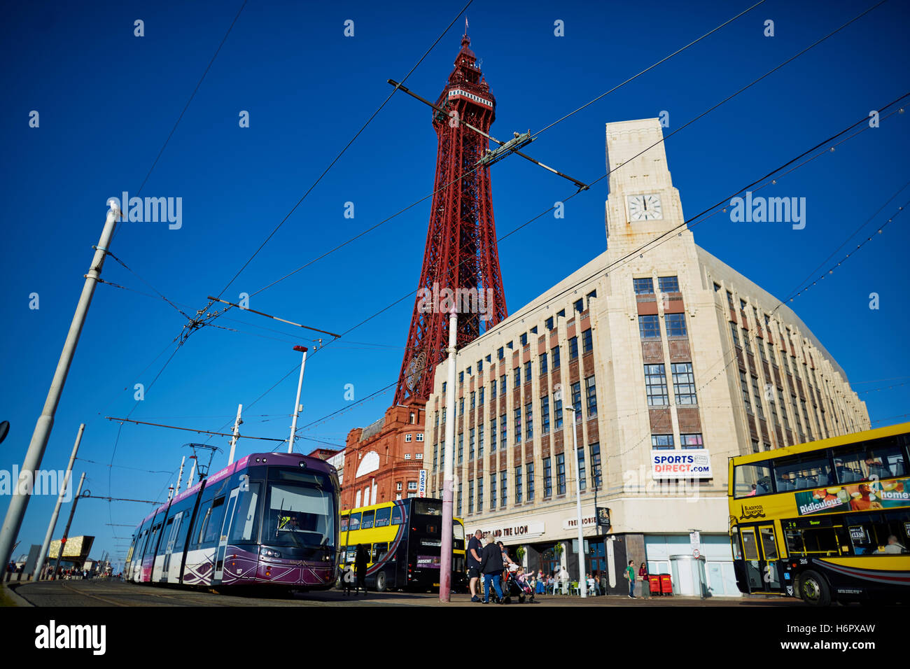 Blackpool ftower modern tram light rail  Holiday sea side town resort Lancashire tourist attractions  tower copyspace - Stock Image