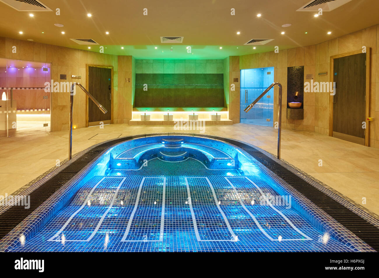 Spa Pool interior modern posh clean   Inside Spa Nelson sauna space Jacuzzi private  council Quality deluxe luxury - Stock Image