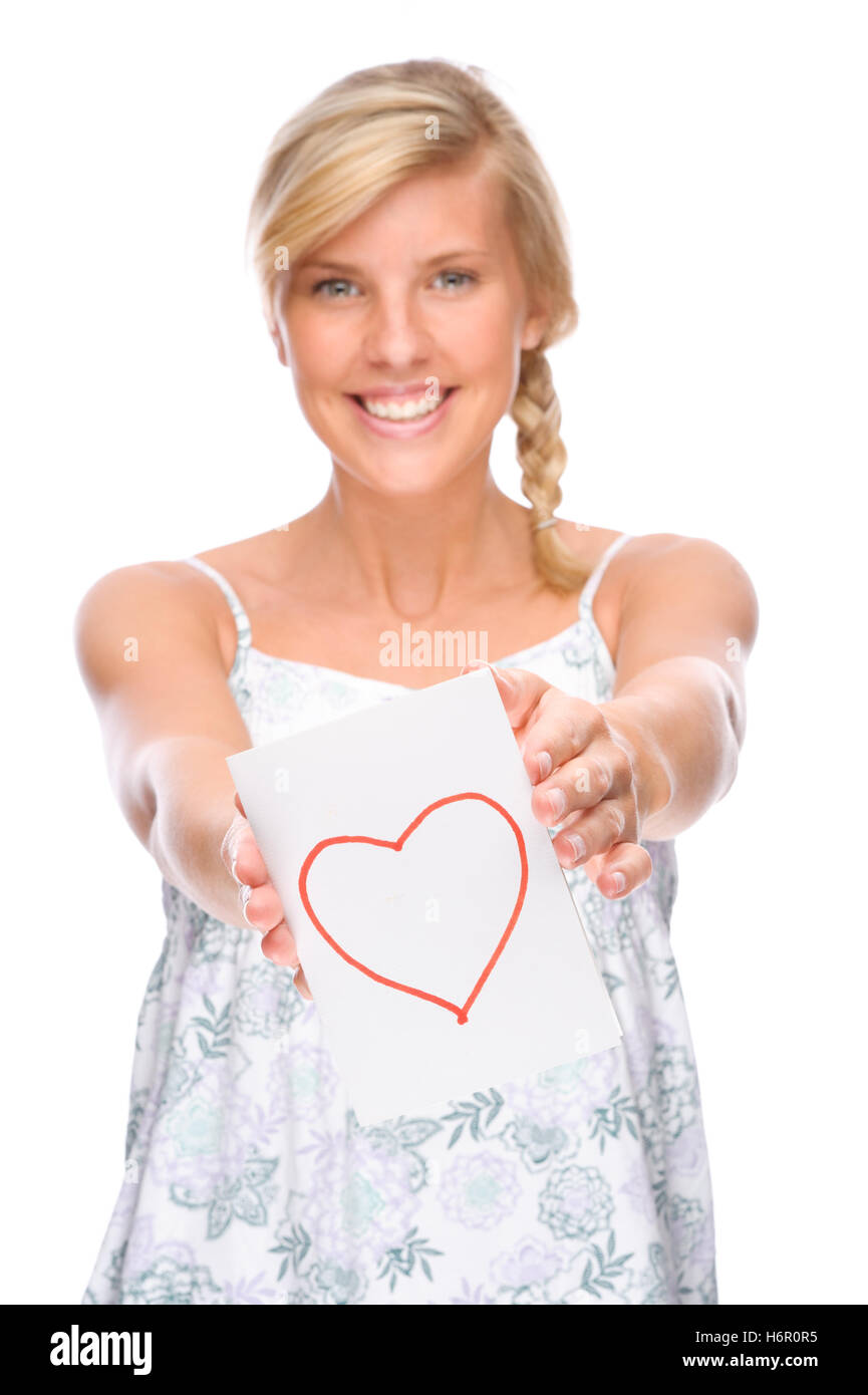 woman with love letter - Stock Image