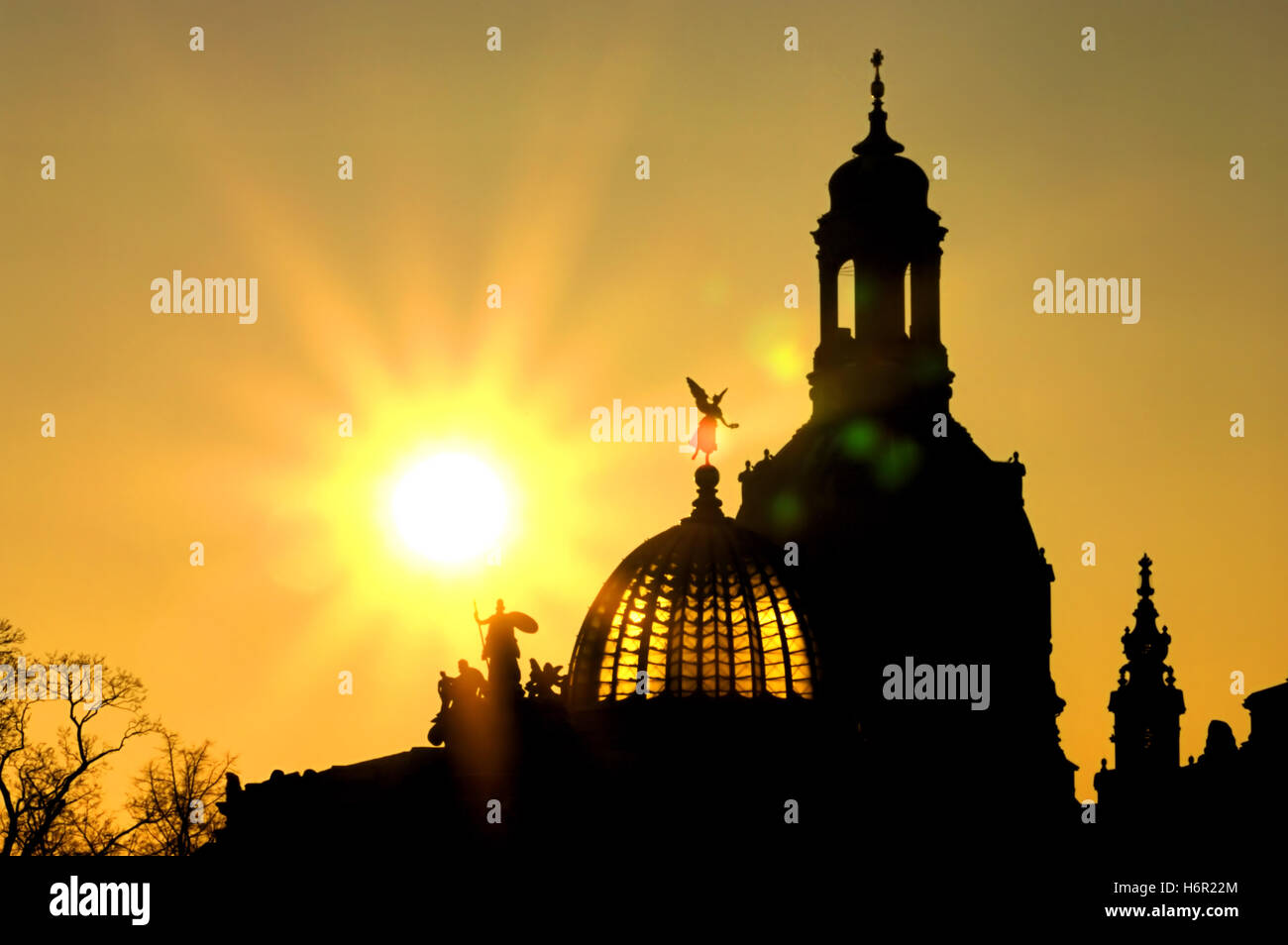 dresden frauenkirche nacht - dresden church of our lady by night 02 - Stock Image