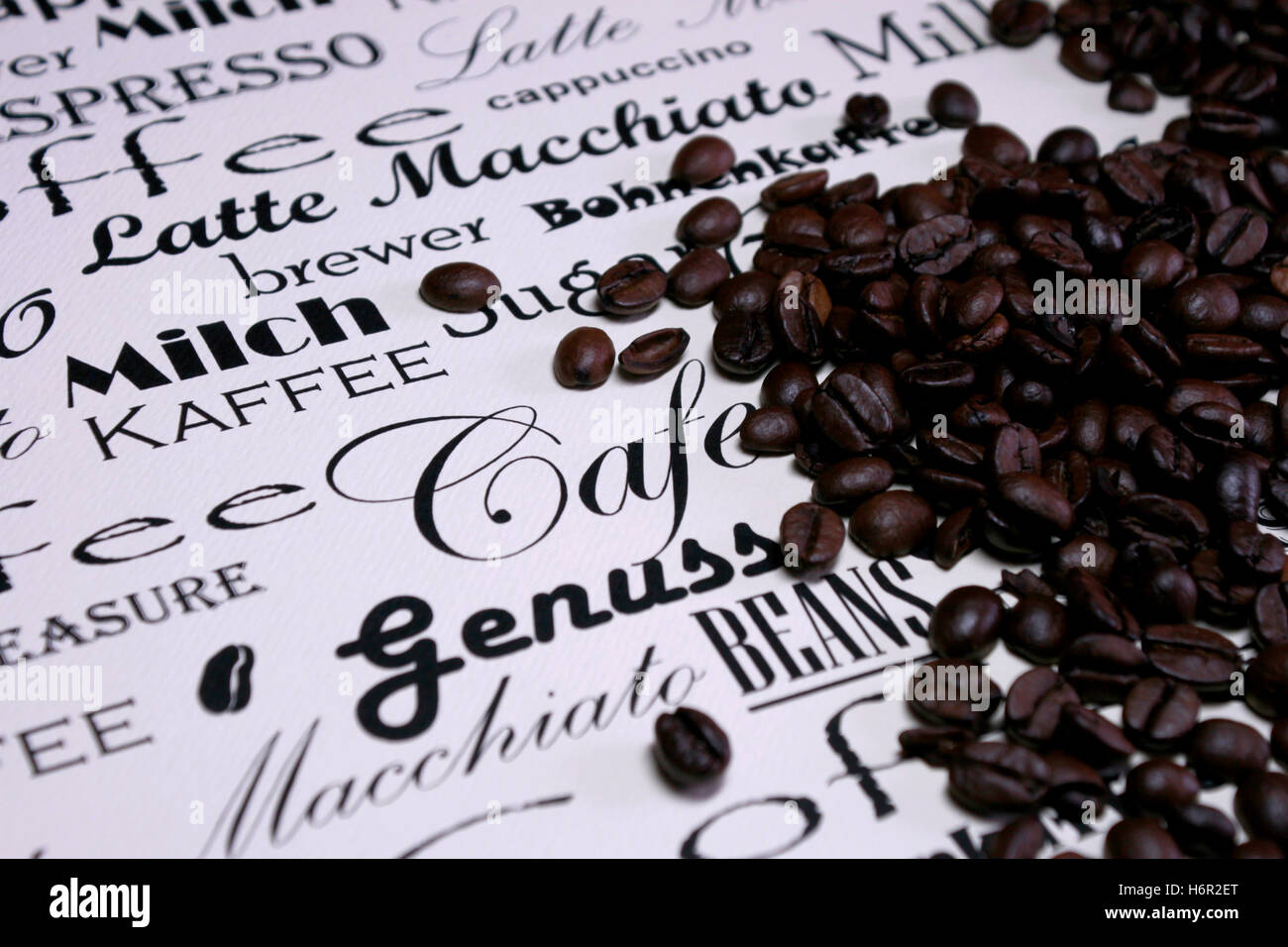 coffee beans with different scripts - Stock Image