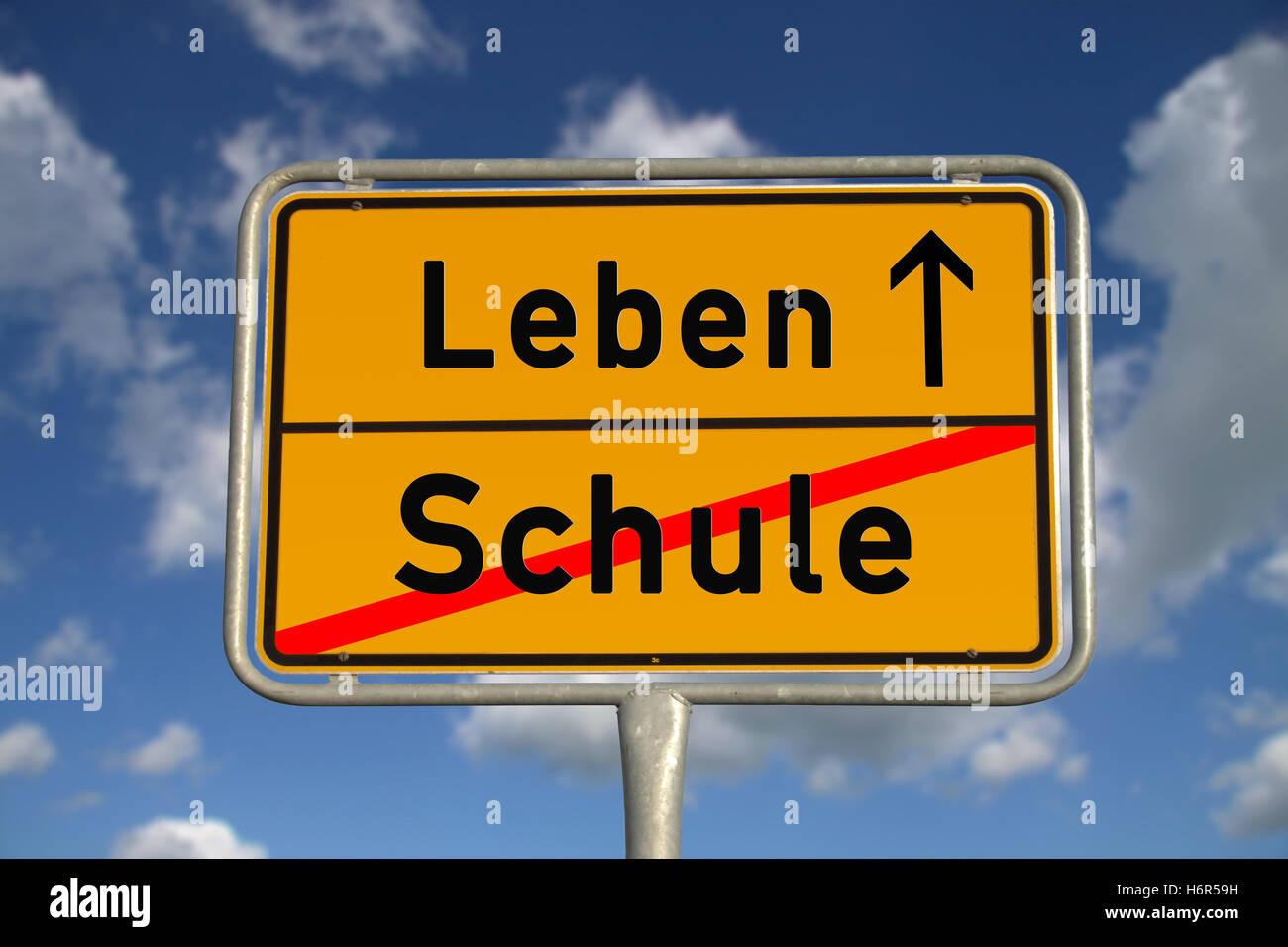 german ortsschild school life Stock Photo