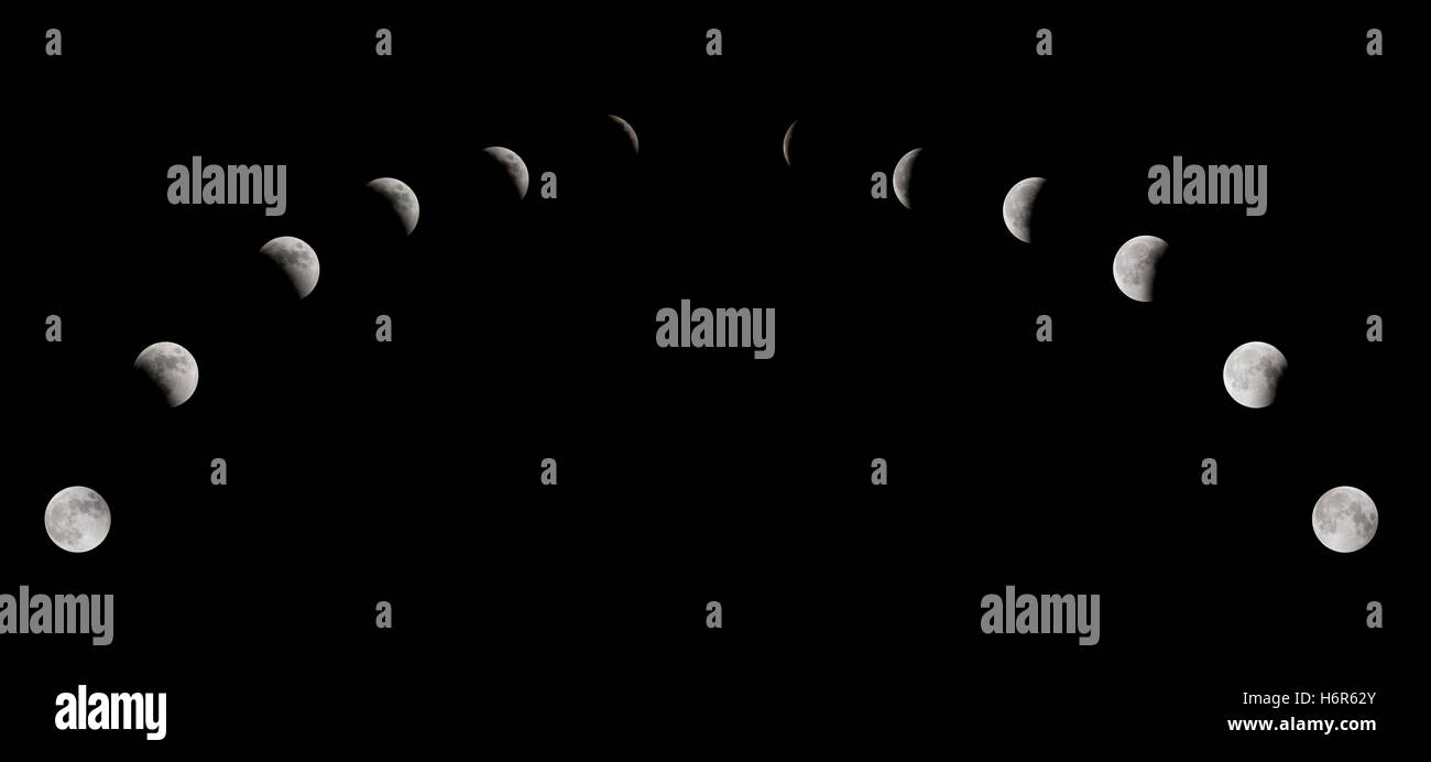 lunar eclipse phases - Stock Image