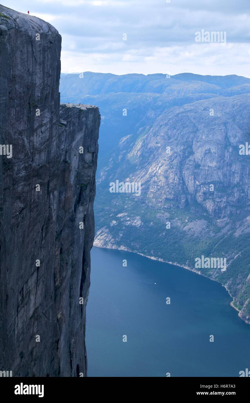 fascinating mountains at lysse-fjord in norway - Stock Image
