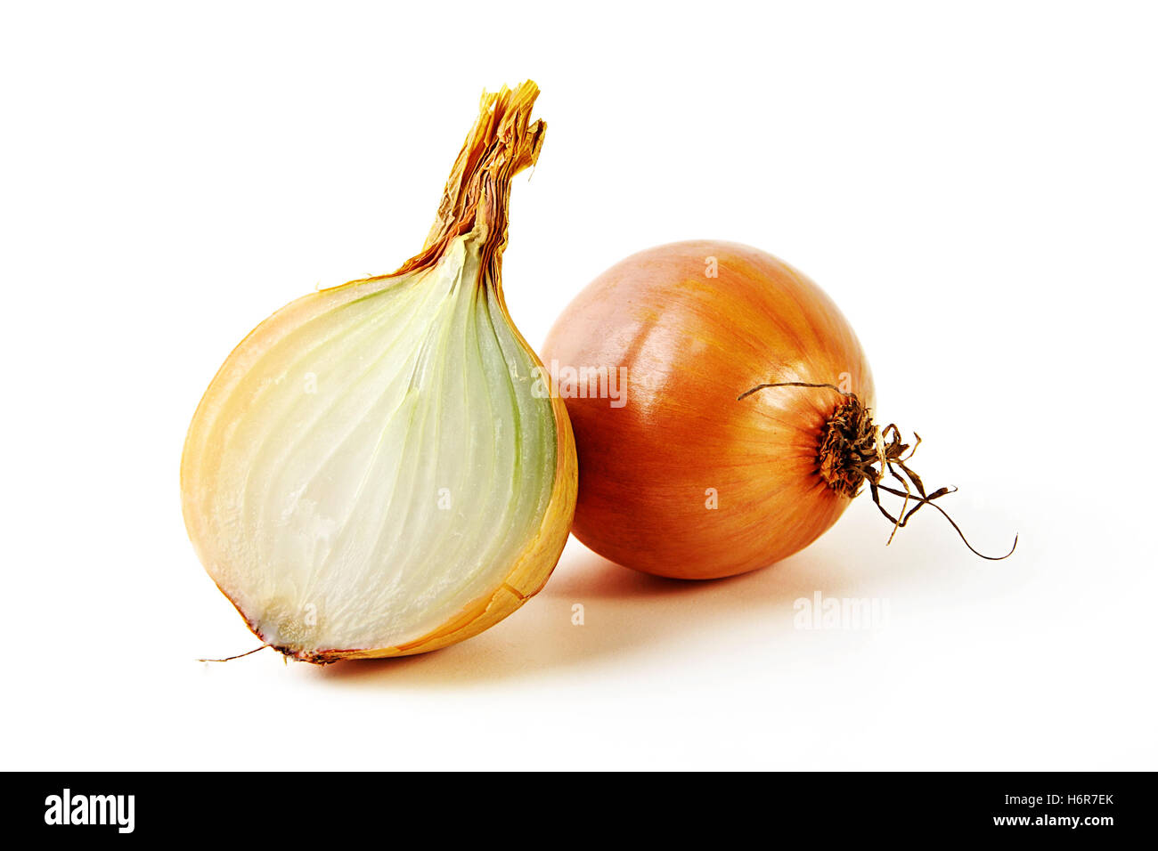 exempted onion with ziebelhalfte Stock Photo