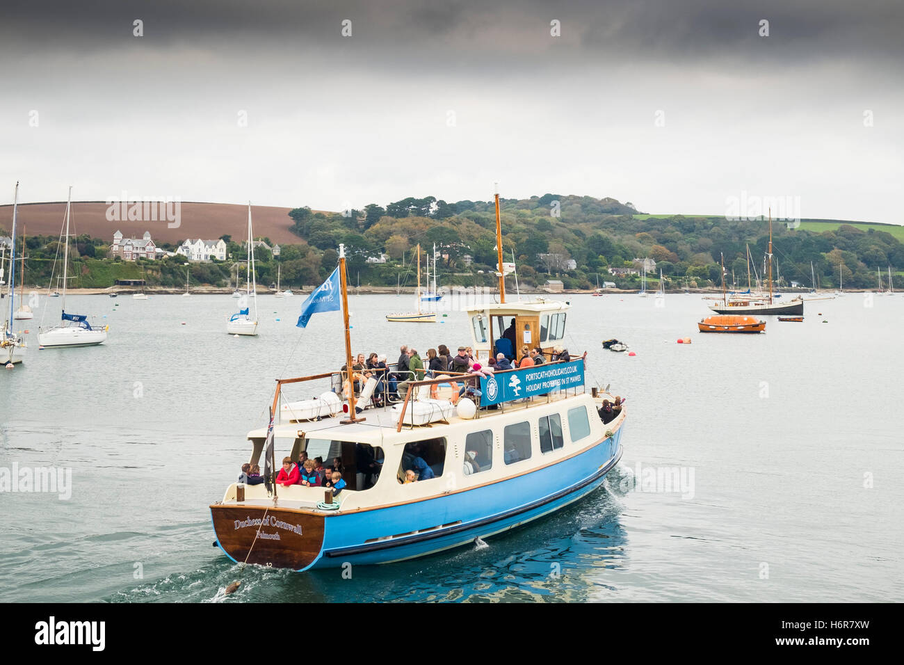 The St Mawes Ferry carries passengers across the Carrick Roads from Falmouth, Cornwall. - Stock Image