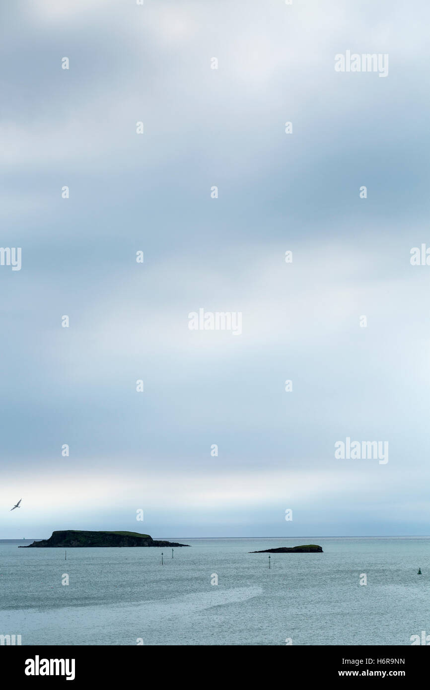 View to the atlantic ocean over Glandore harbour, County Cork, Ireland. - Stock Image