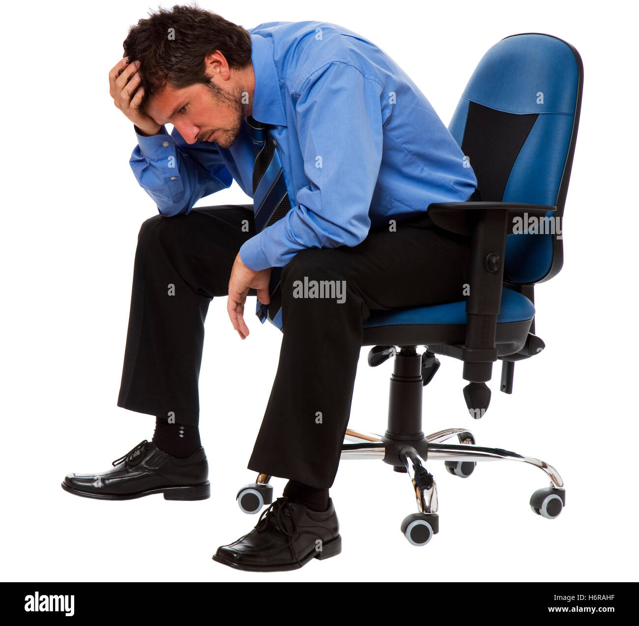 business man businessman put sitting sit chair man isolated conflict person frustration argue noise business dealings - Stock Image
