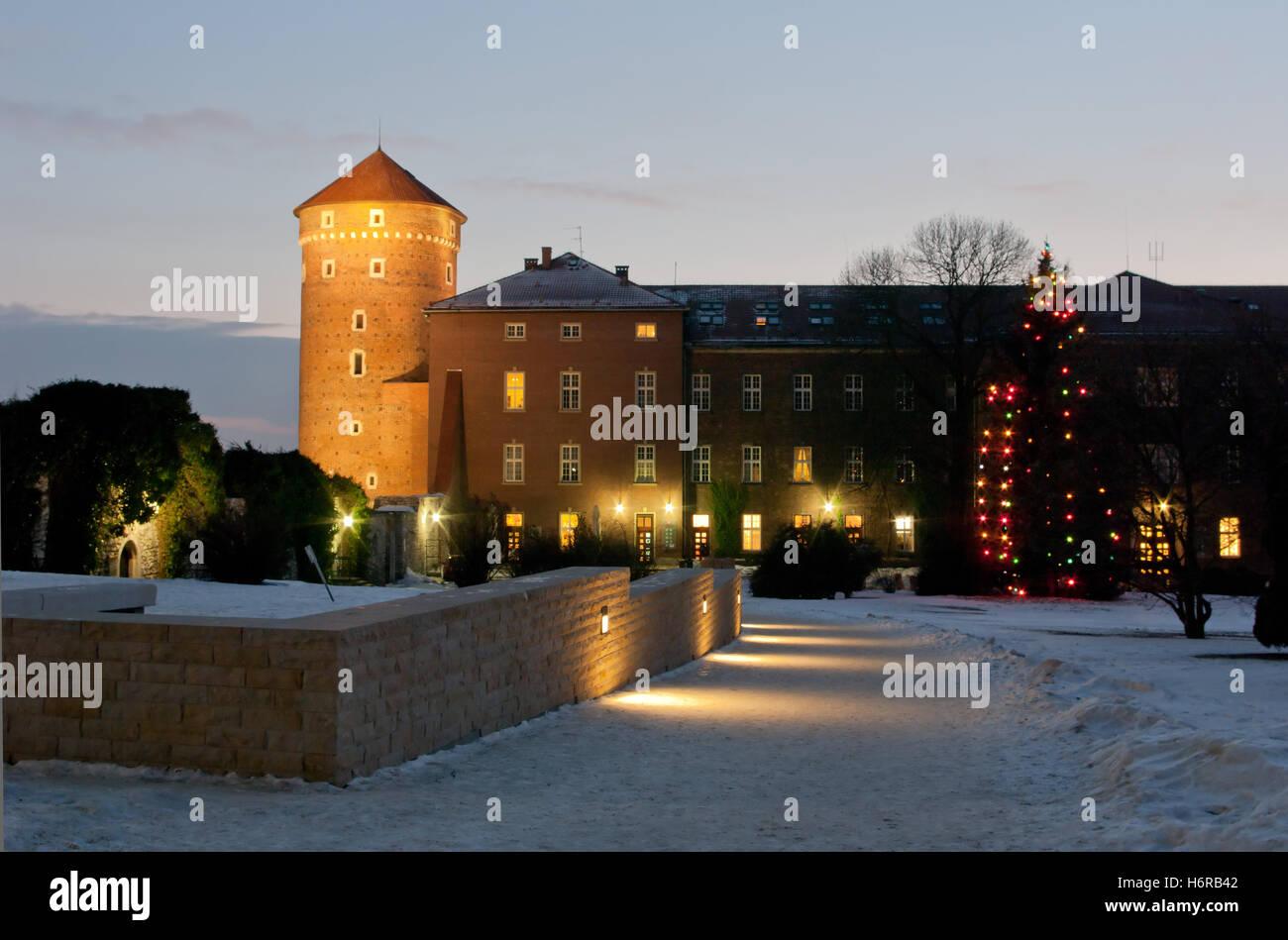 wawel at night in winter. Stock Photo
