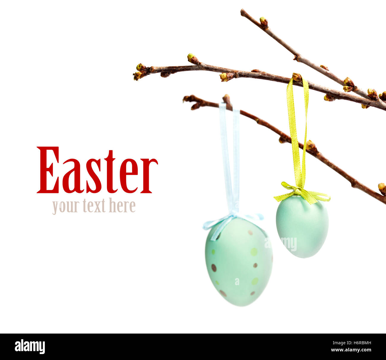 religion isolated holiday colour closeup tree green easter spring bouncing bounces hop skipping frisks jumping jump - Stock Image