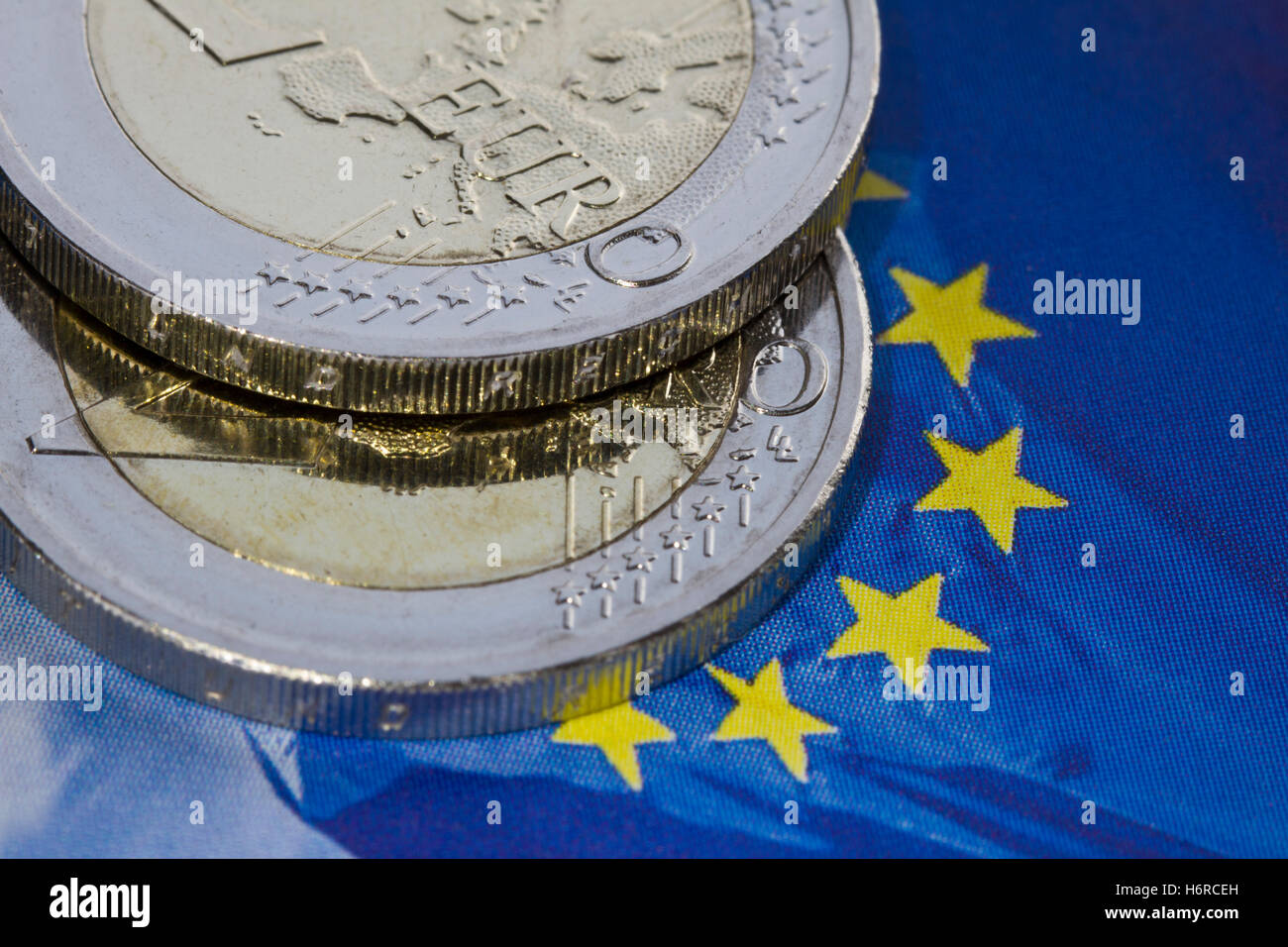 euro money market one stability money blue closeup currency euro europe coin flag money market one foreign exchange - Stock Image
