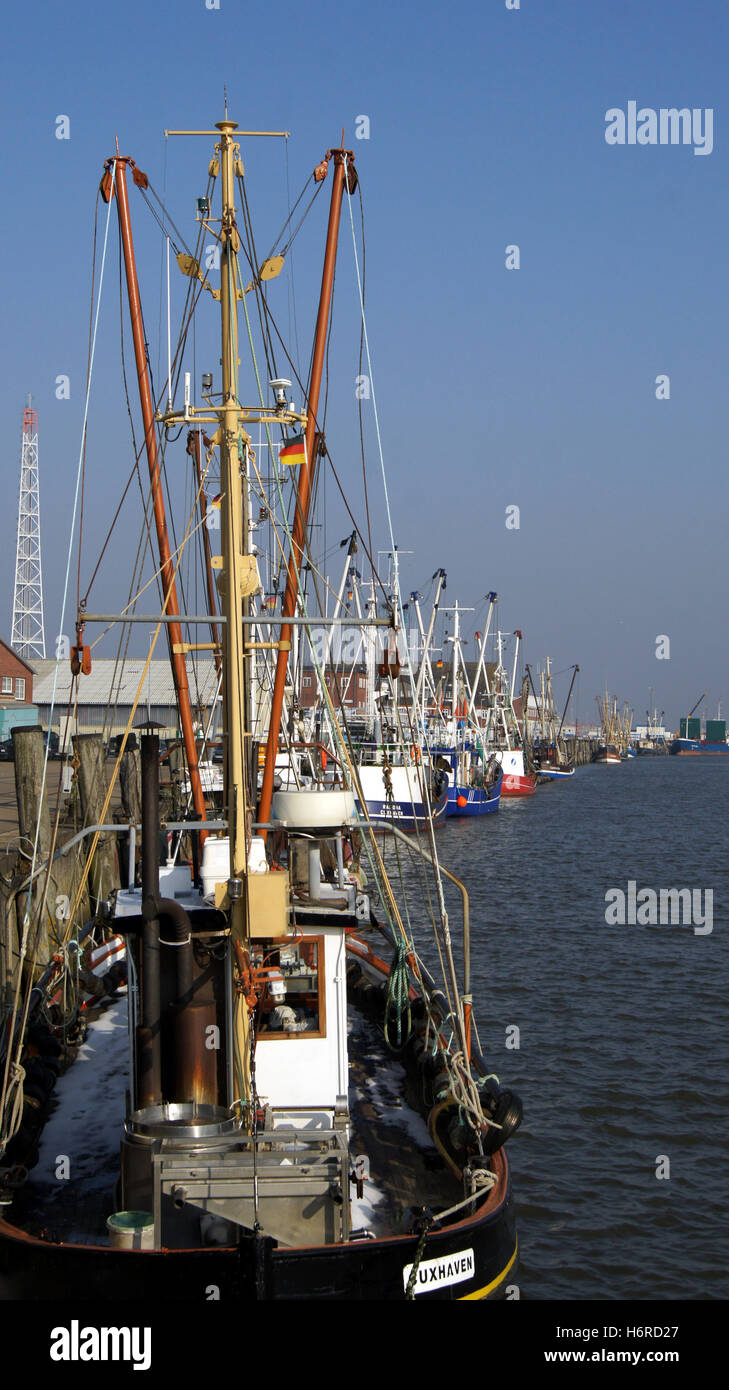 the fishing harbor in cuxhaven,germany - Stock Image