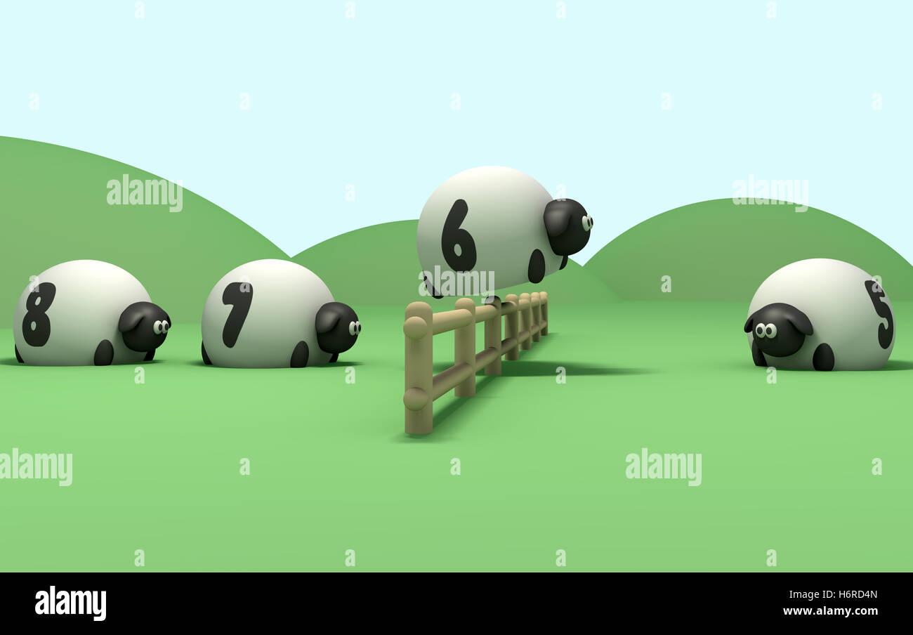 order sheep spring bouncing bounces hop skipping frisks jumping jump sleep sleeping series farm herd restlessness - Stock Image