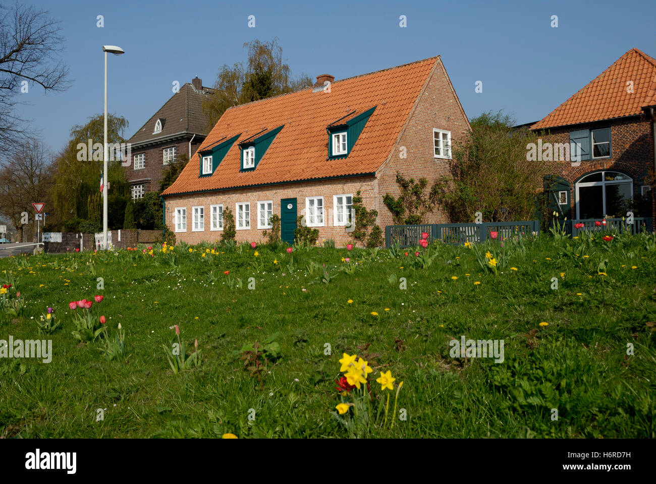 brick house in holtenau - Stock Image