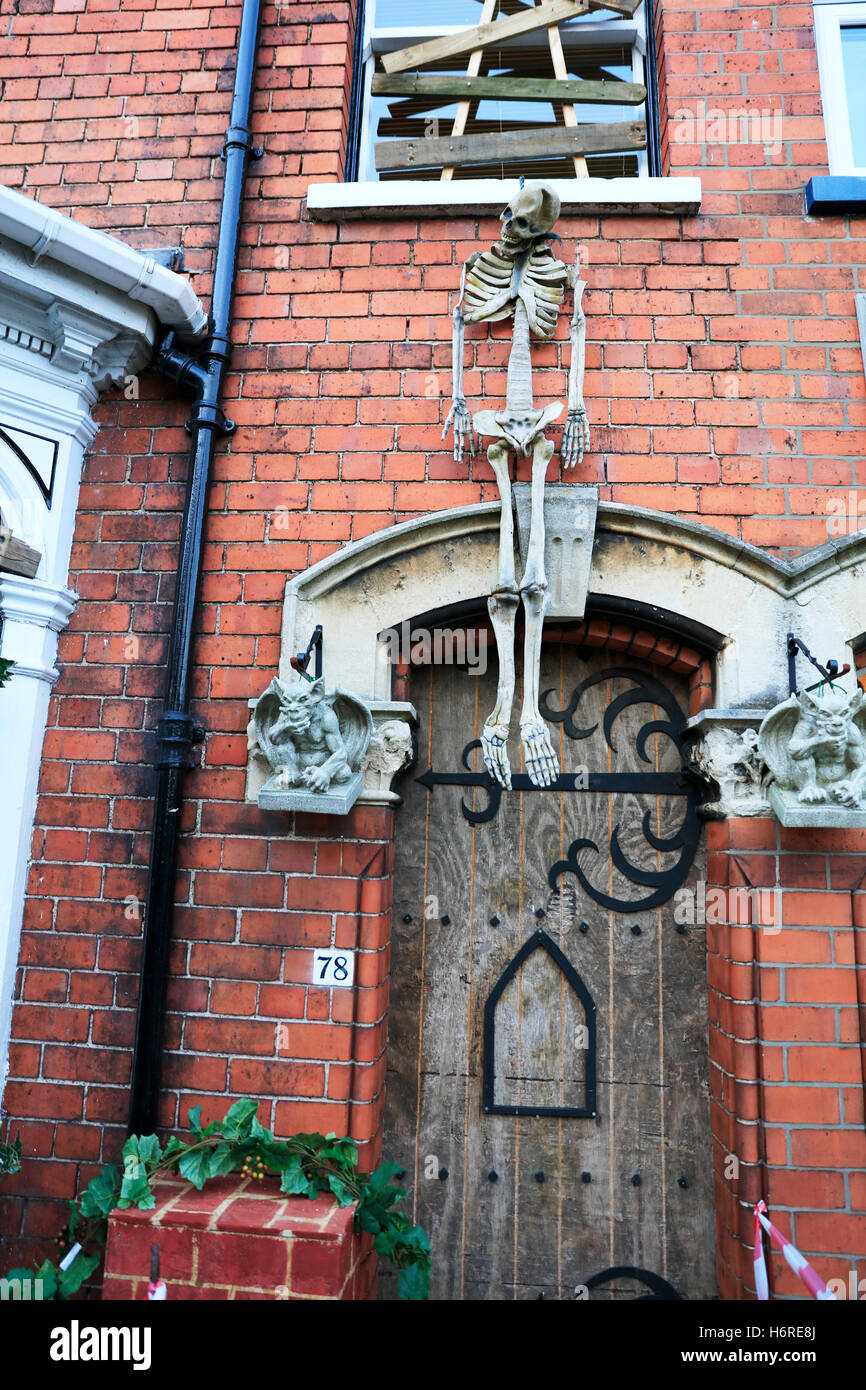 Haunted House Skeleton Hanging Above Door Entrance Scary To ...