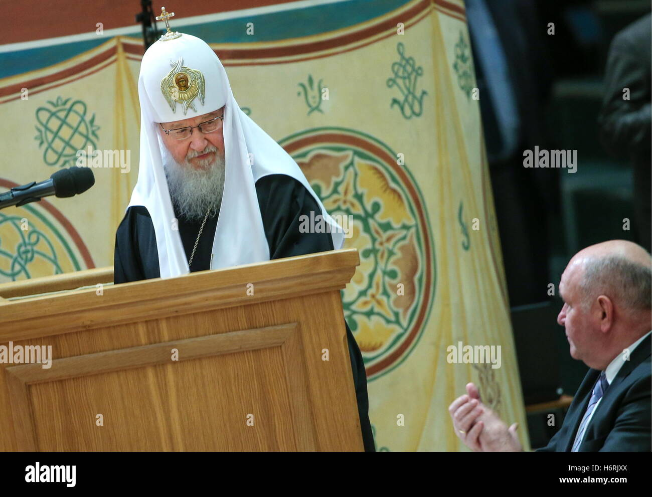Moscow, Russia. 1st Nov, 2016. Patriarch Kirill (L) of Moscow and All Russia and Russia's deputy foreign minister - Stock Image
