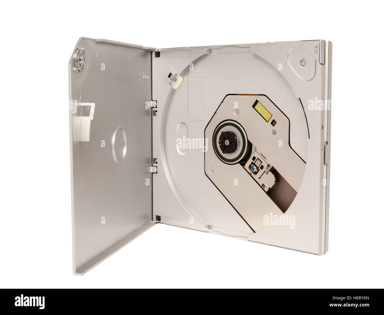 Portable external slim CD DVD drive isolated on white background - Stock Image